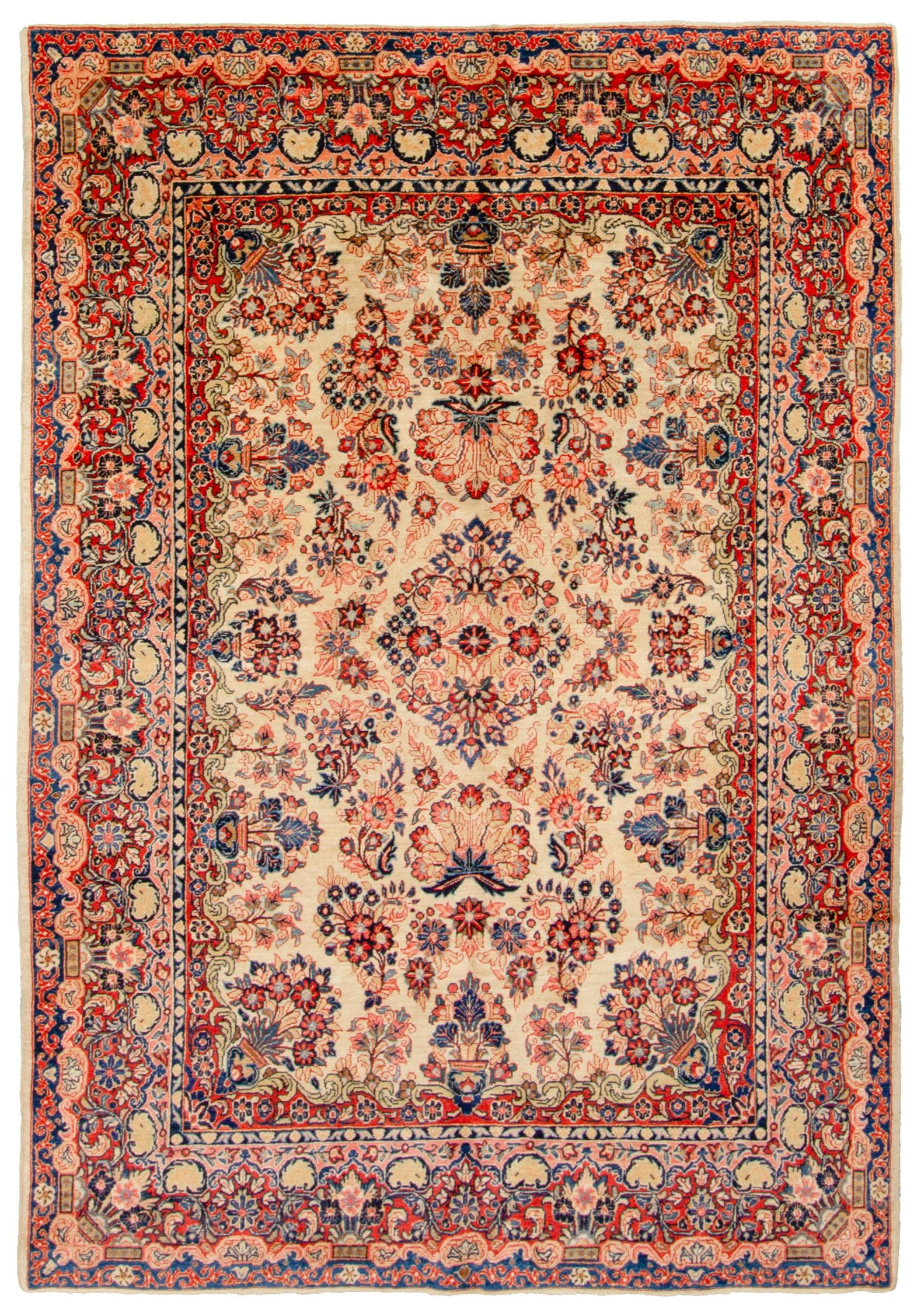 "Hand-knotted Sarough Beige, Blue  Rug 6'3"" x 9'4"" Size: 6'3"" x 9'4"""