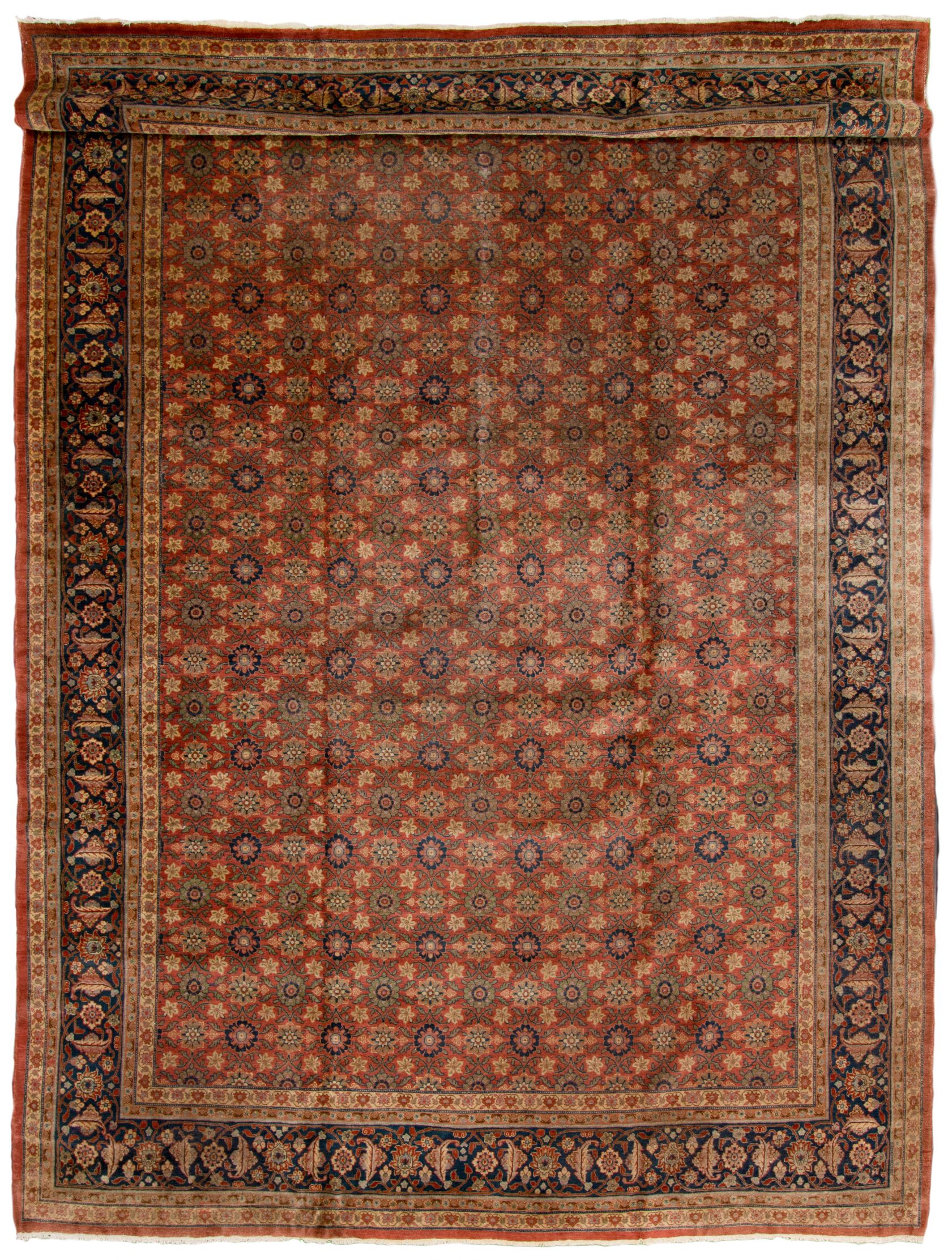 """Hand-knotted Tabriz Blue, Red  Rug 12'2"""" x 18'10"""" Size: 12'2"""" x 18'10"""""""