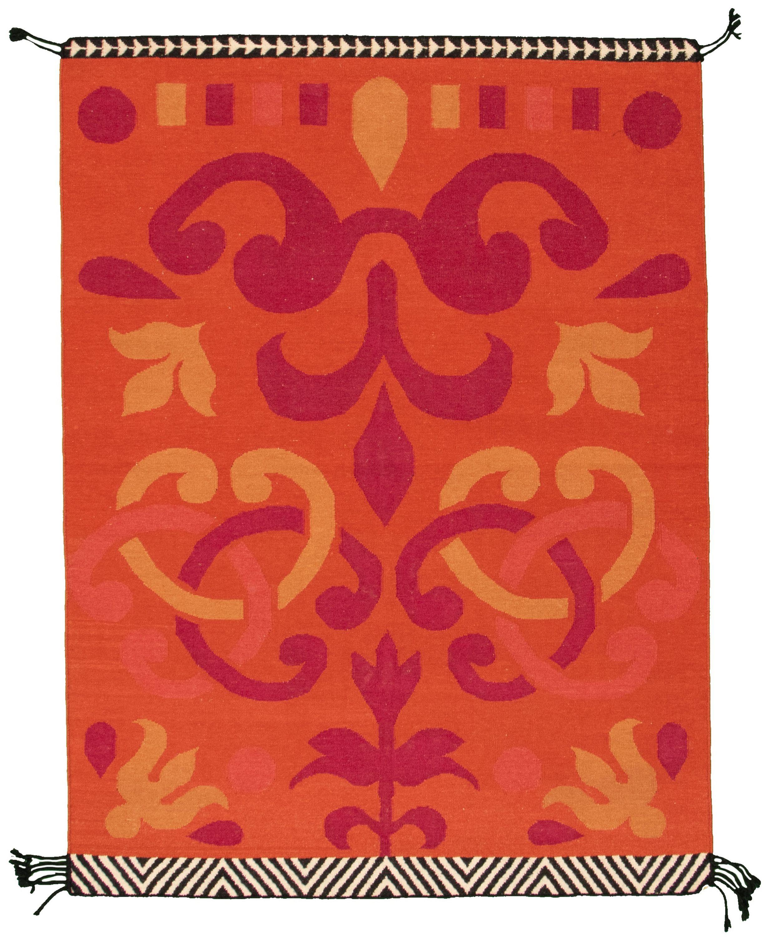 "Hand woven Ankara FW Orange Wool Kilim 4'11"" x 6'7"" Size: 4'11"" x 6'7"""