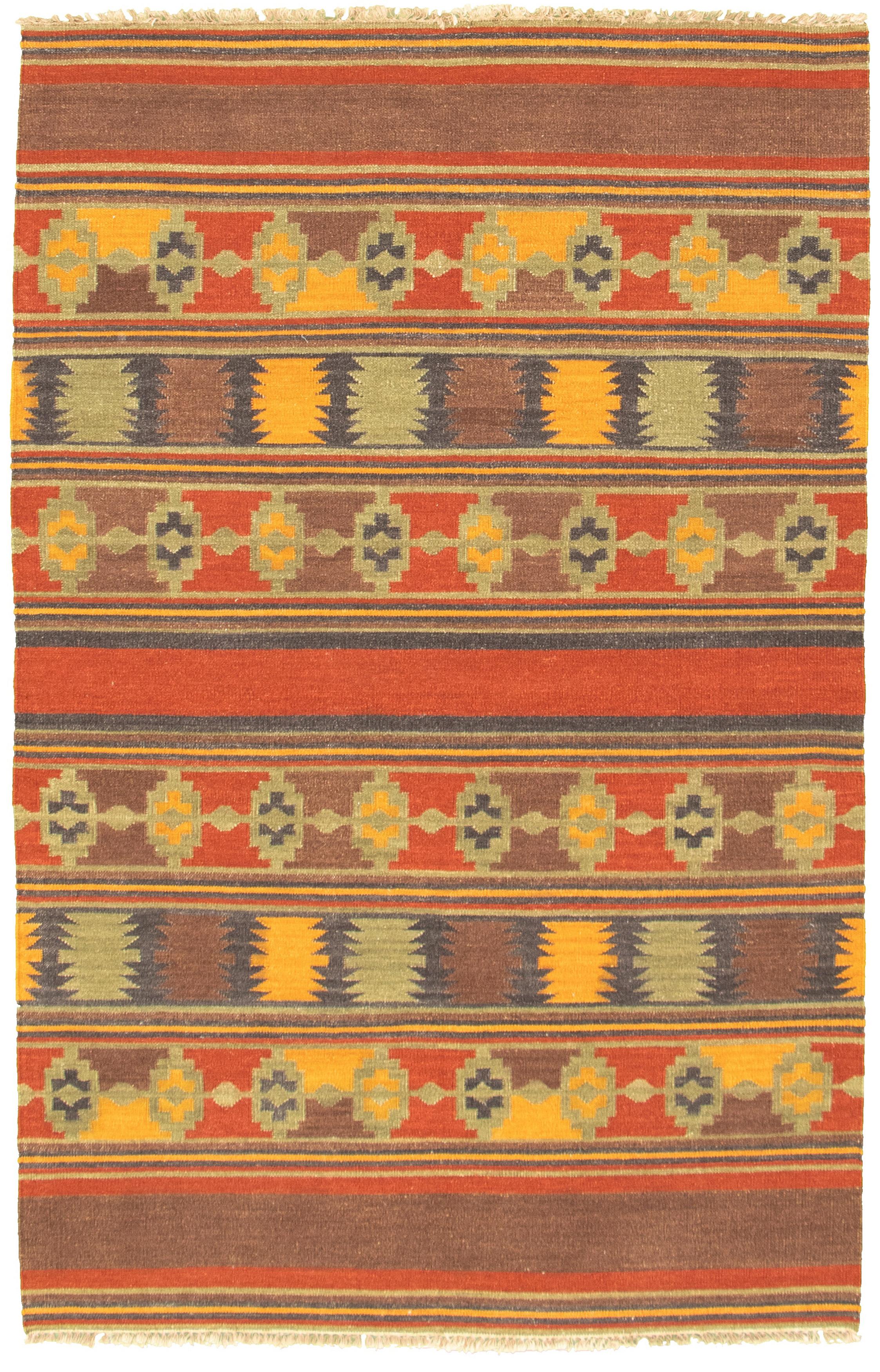 "Hand woven Ankara FW Brown Wool Kilim 5'2"" x 8'0"" Size: 5'2"" x 8'0"""