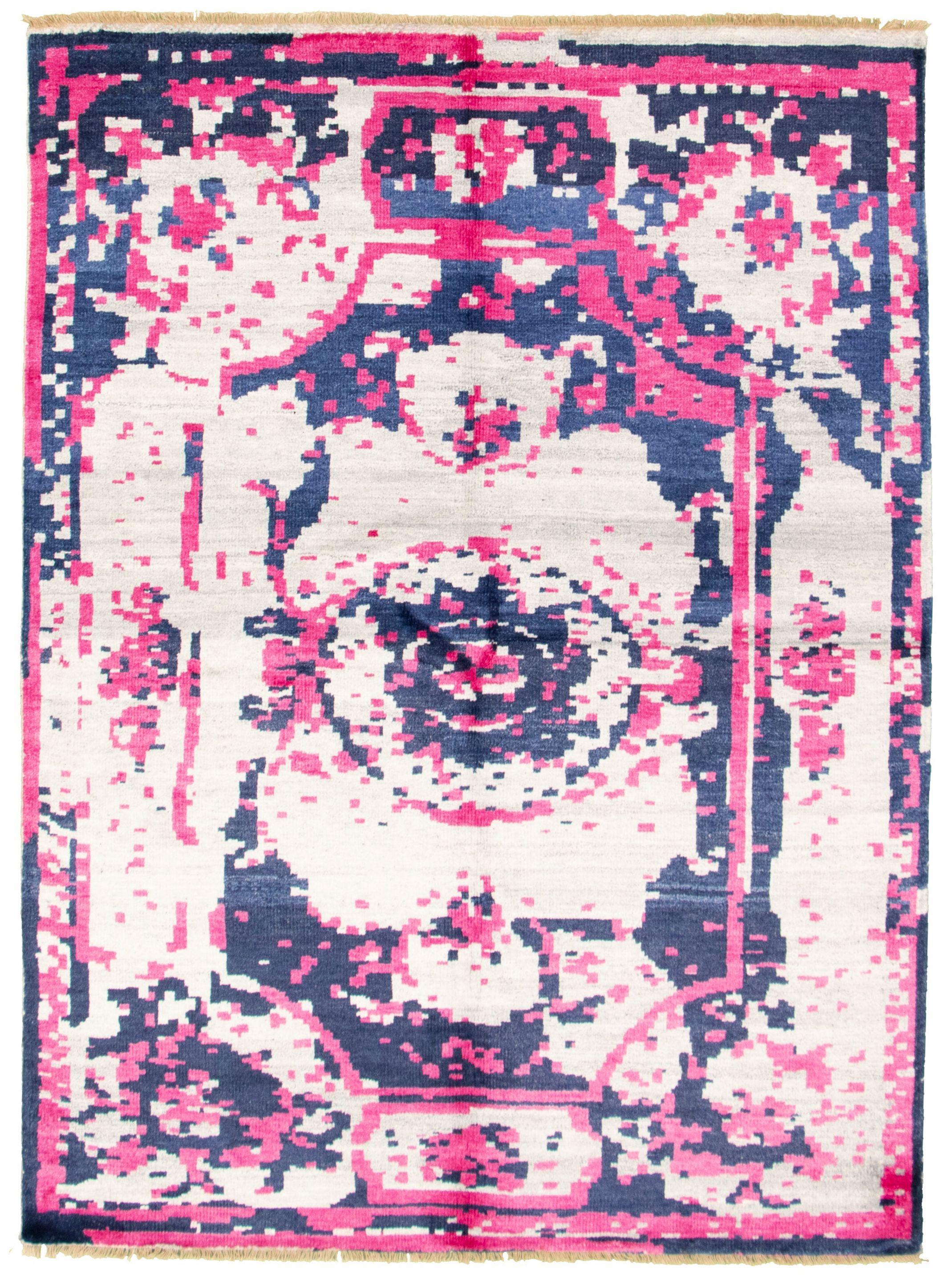 "Hand-knotted Jules Ushak Cream, Dark Pink  Rug 5'6"" x 7'6"" Size: 5'6"" x 7'6"""
