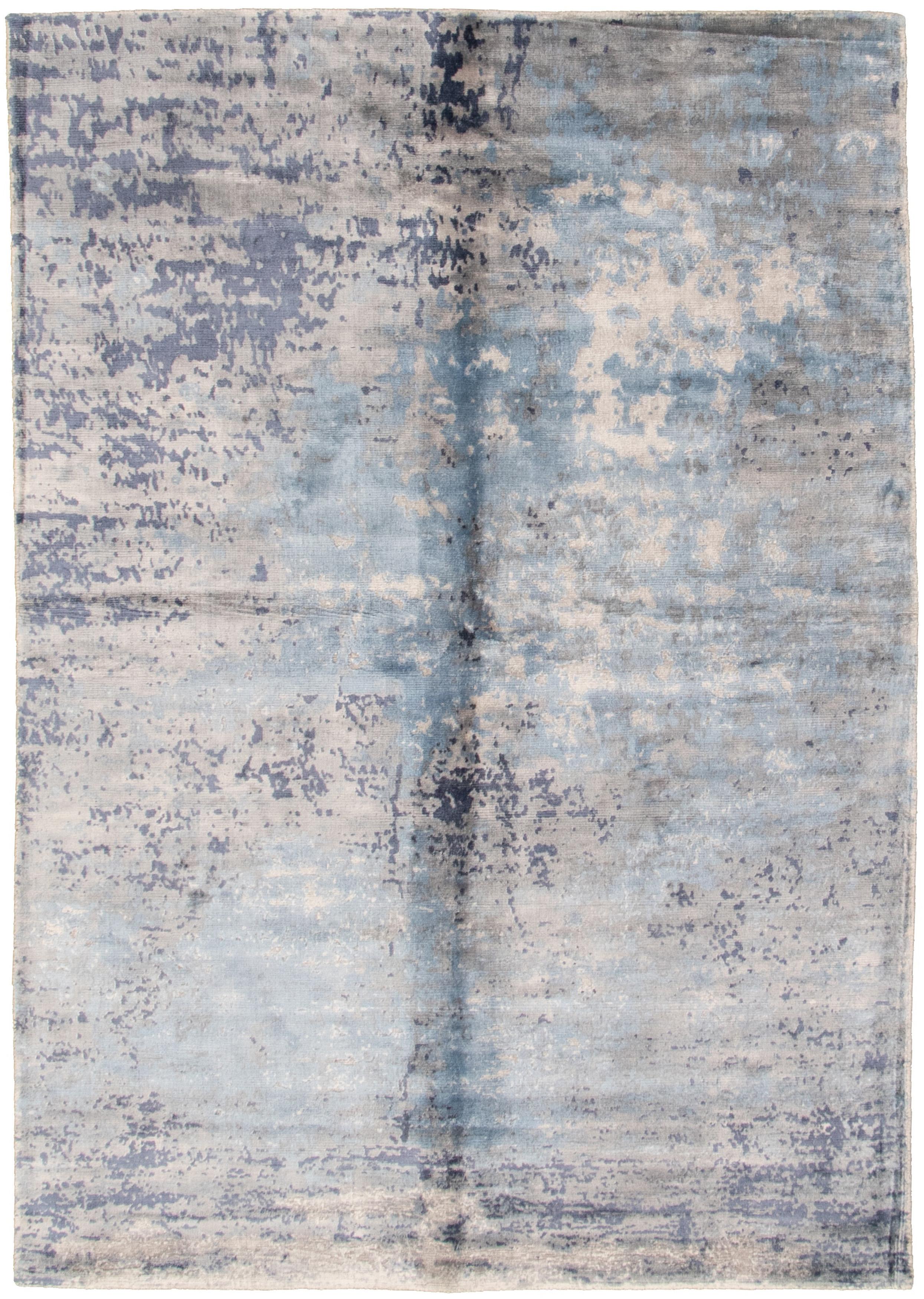 "Hand loomed Galleria Grey, Slate Blue Viscose Rug 4'11"" x 7'4"" Size: 4'11"" x 7'4"""