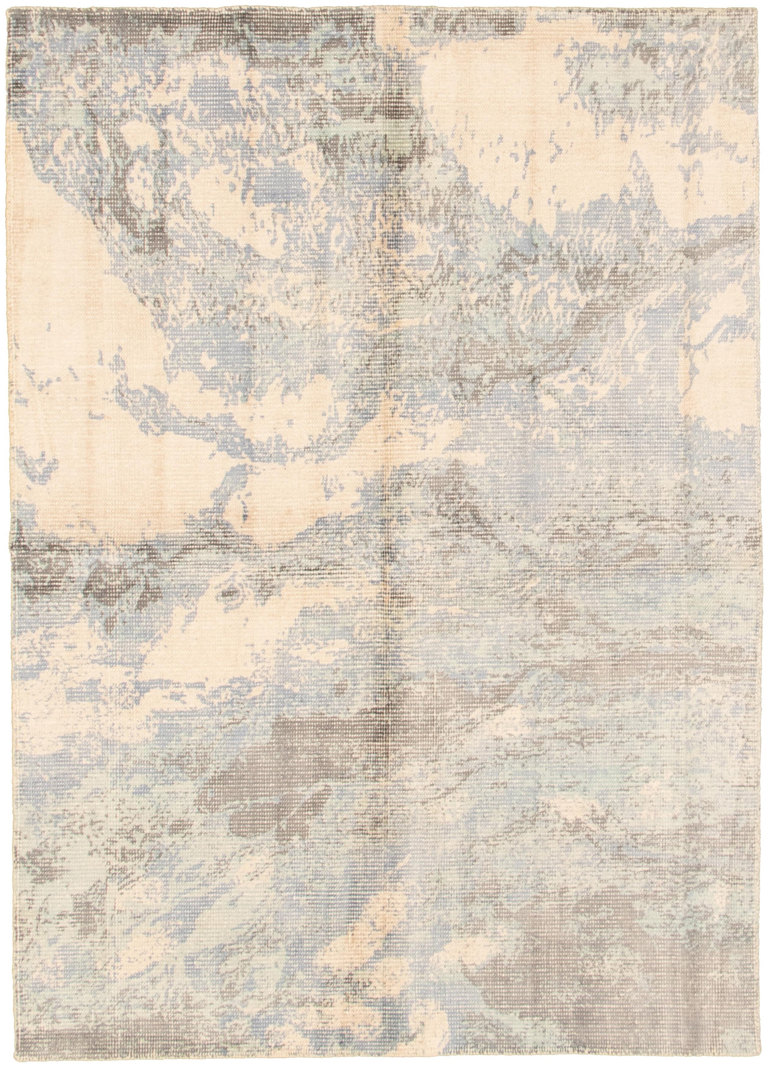 "Hand loomed Galleria Ivory, Slate Blue Viscose Rug 5'1"" x 7'8"" Size: 5'1"" x 7'8"""