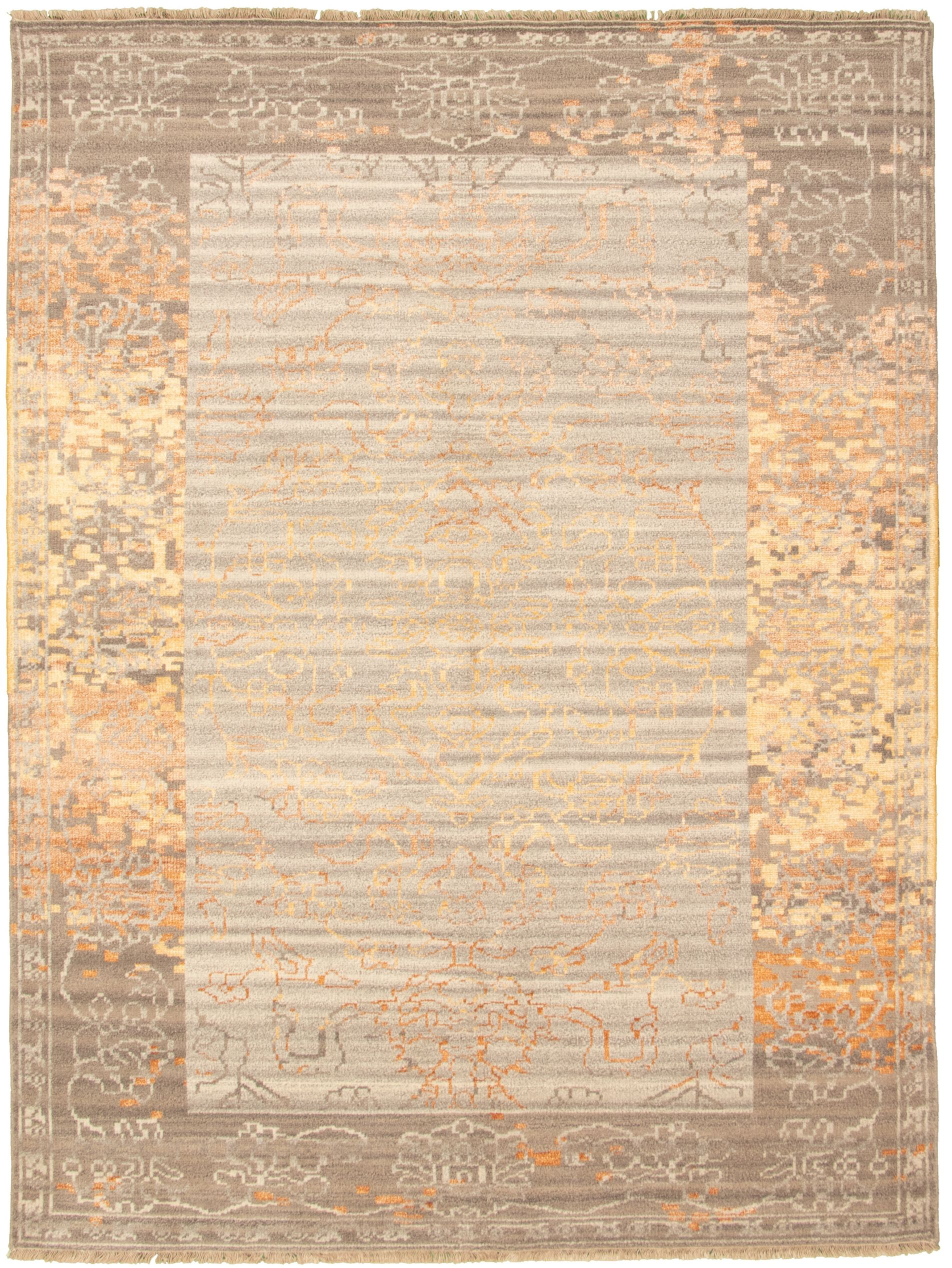 "Hand-knotted Jules Ushak Light Grey  Rug 7'5"" x 9'11"" Size: 7'5"" x 9'11"""