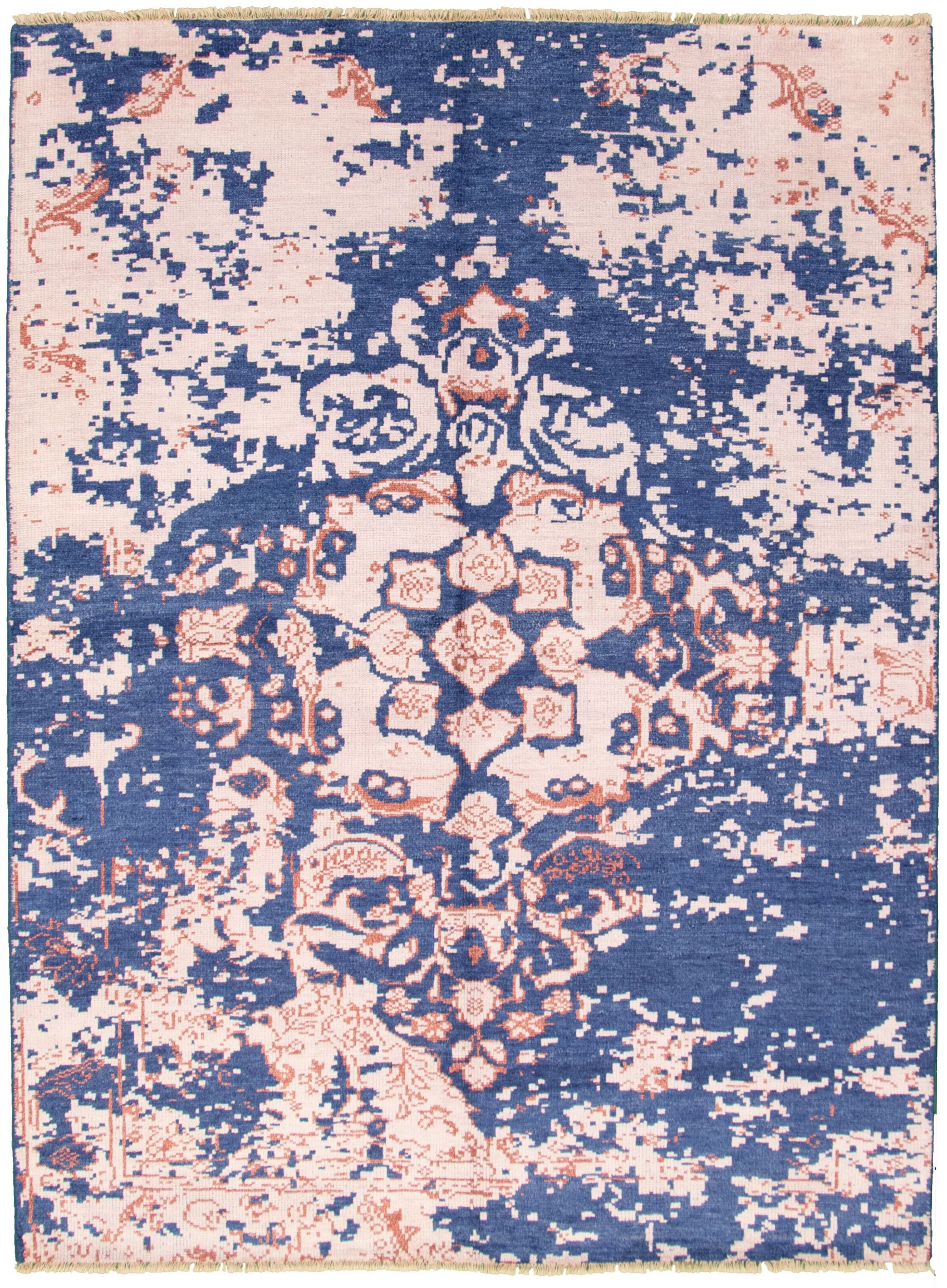 """Hand-knotted Jules Ushak Navy Blue, Pink  Rug 7'3"""" x 9'10"""" Size: 7'3"""" x 9'10"""""""