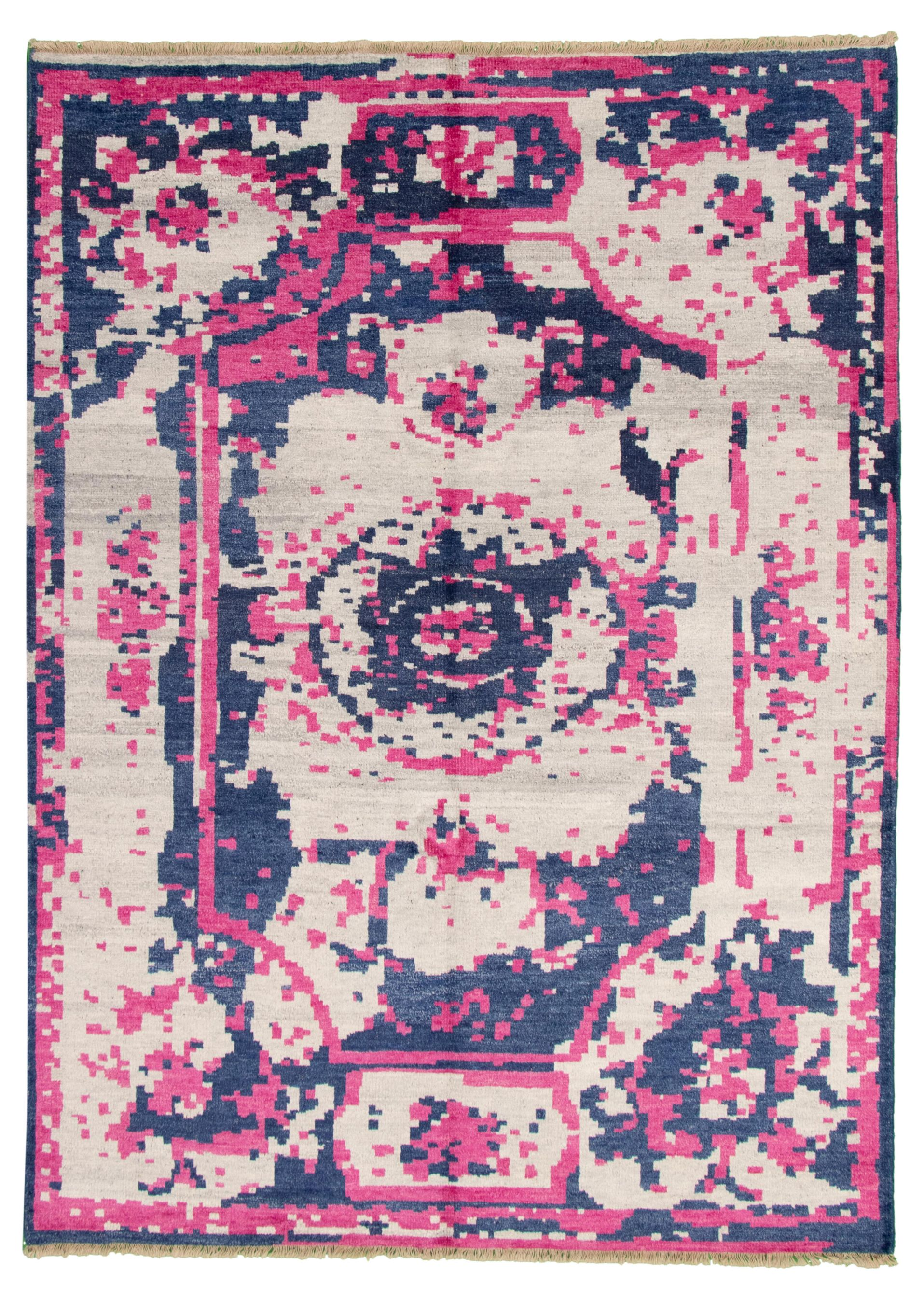 "Hand-knotted Jules Ushak Dark Pink, Light Grey  Rug 7'4"" x 10'0"" Size: 7'4"" x 10'0"""