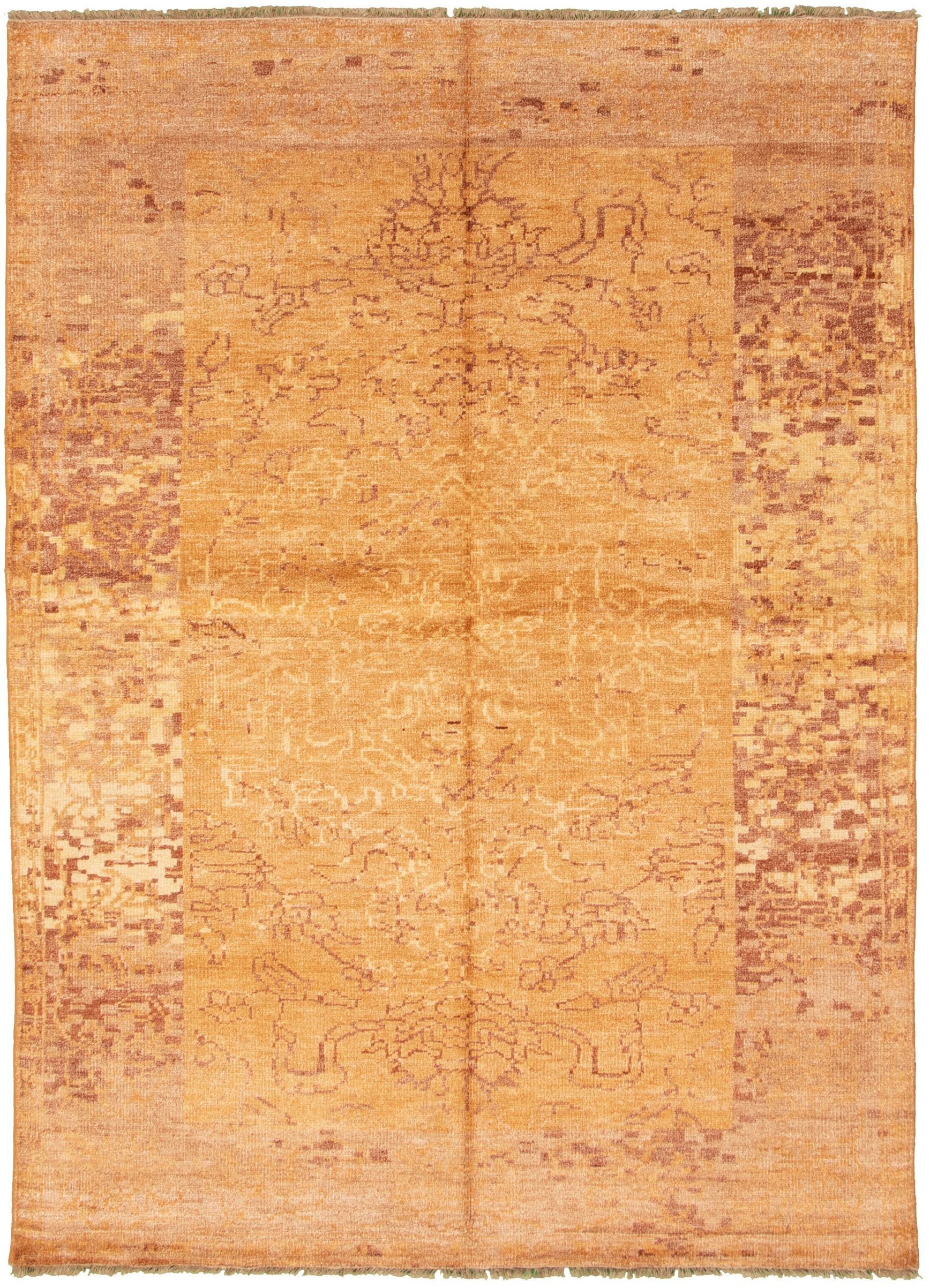 """Hand-knotted Jules Ushak Light Brown  Rug 6'10"""" x 9'9"""" Size: 6'10"""" x 9'9"""""""