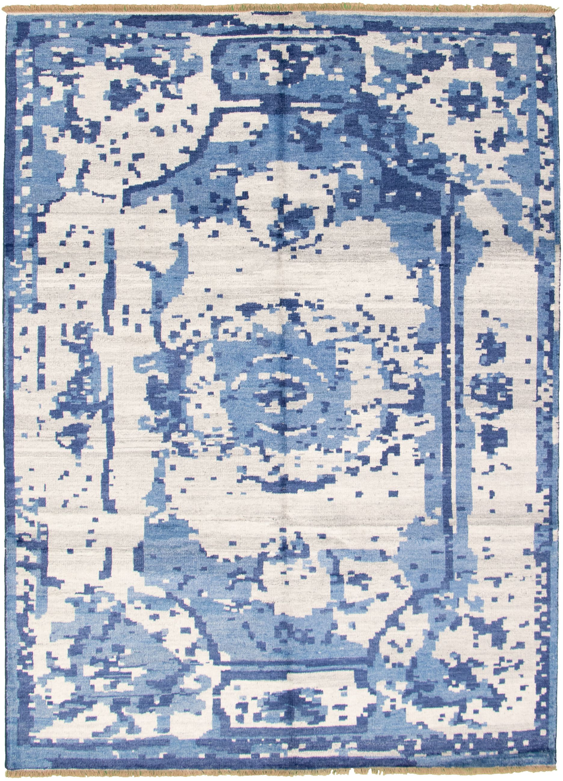"Hand-knotted Jules Ushak Light Grey  Rug 7'2"" x 9'11"" Size: 7'2"" x 9'11"""