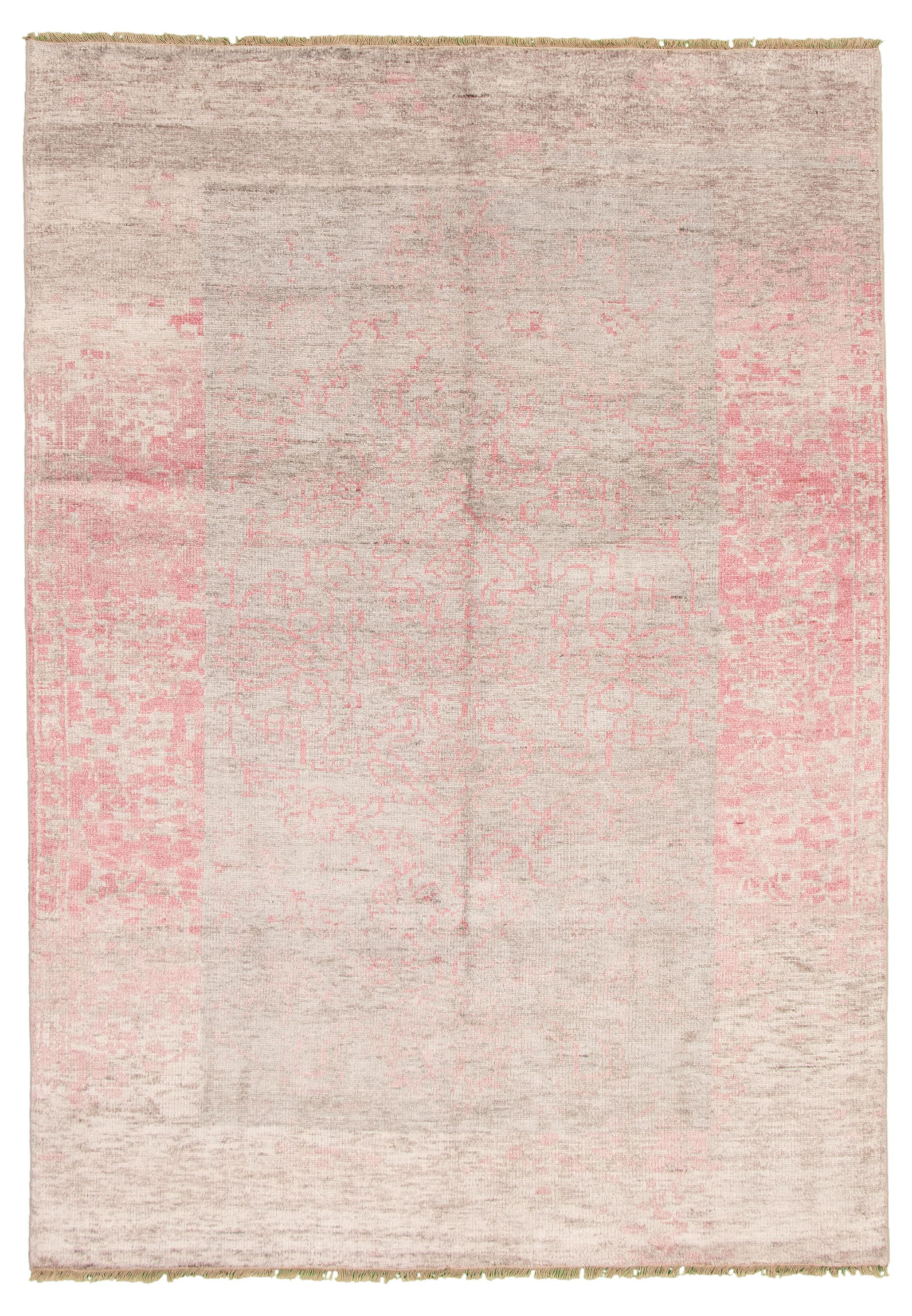 "Hand-knotted Jules Ushak Light Grey  Rug 7'0"" x 10'0"" Size: 7'0"" x 10'0"""