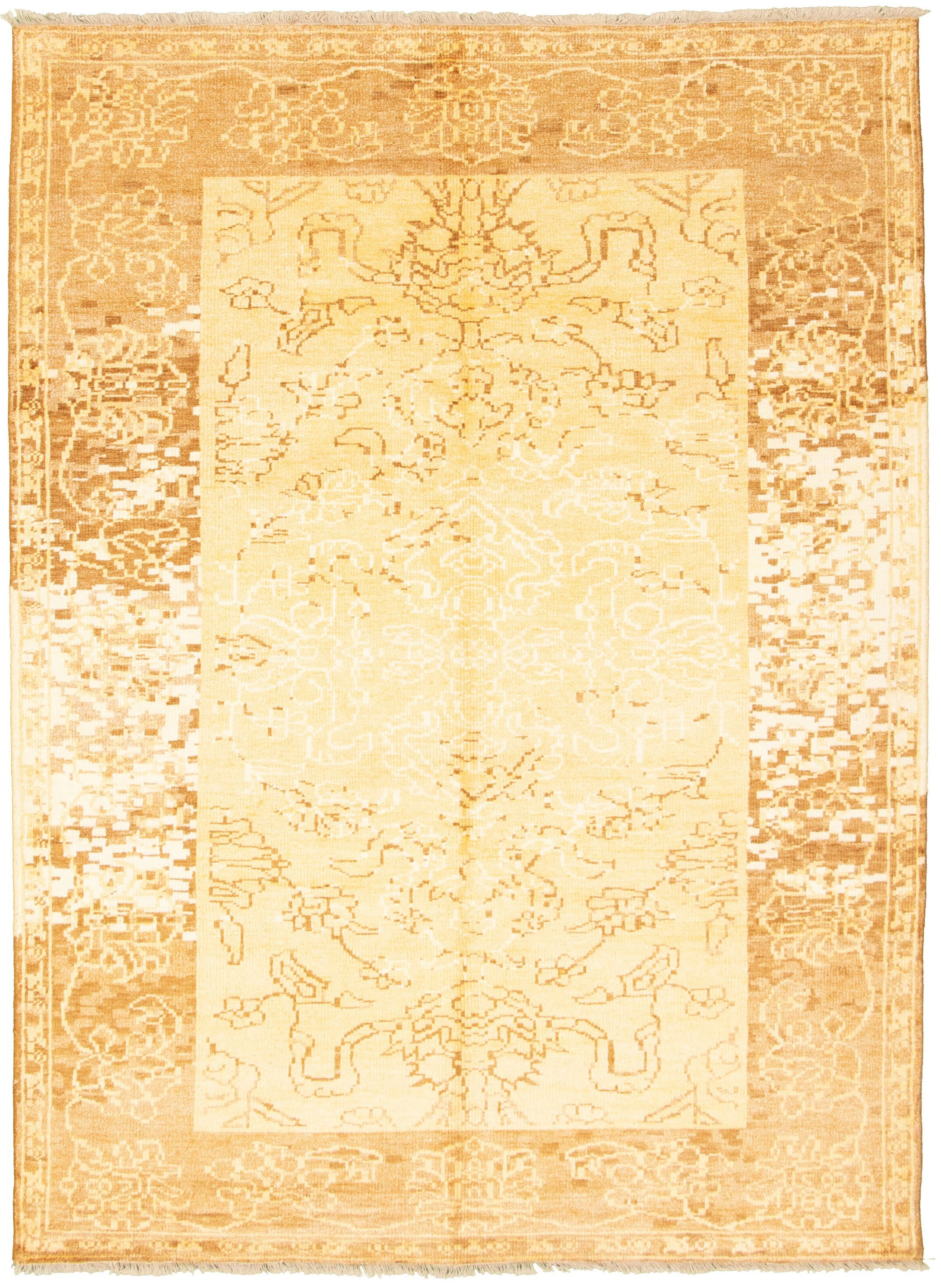 "Hand-knotted Jules Ushak Light Gold  Rug 7'0"" x 9'9"" Size: 7'0"" x 9'9"""