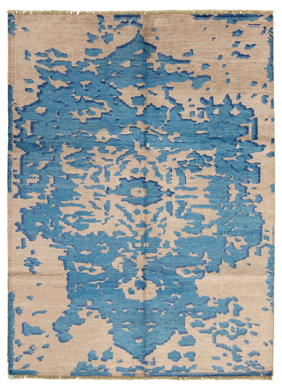 """Hand-knotted Jules Ushak Blue, Light Khaki  Rug 7'2"""" x 9'10"""" Size: 7'2"""" x 9'10"""""""