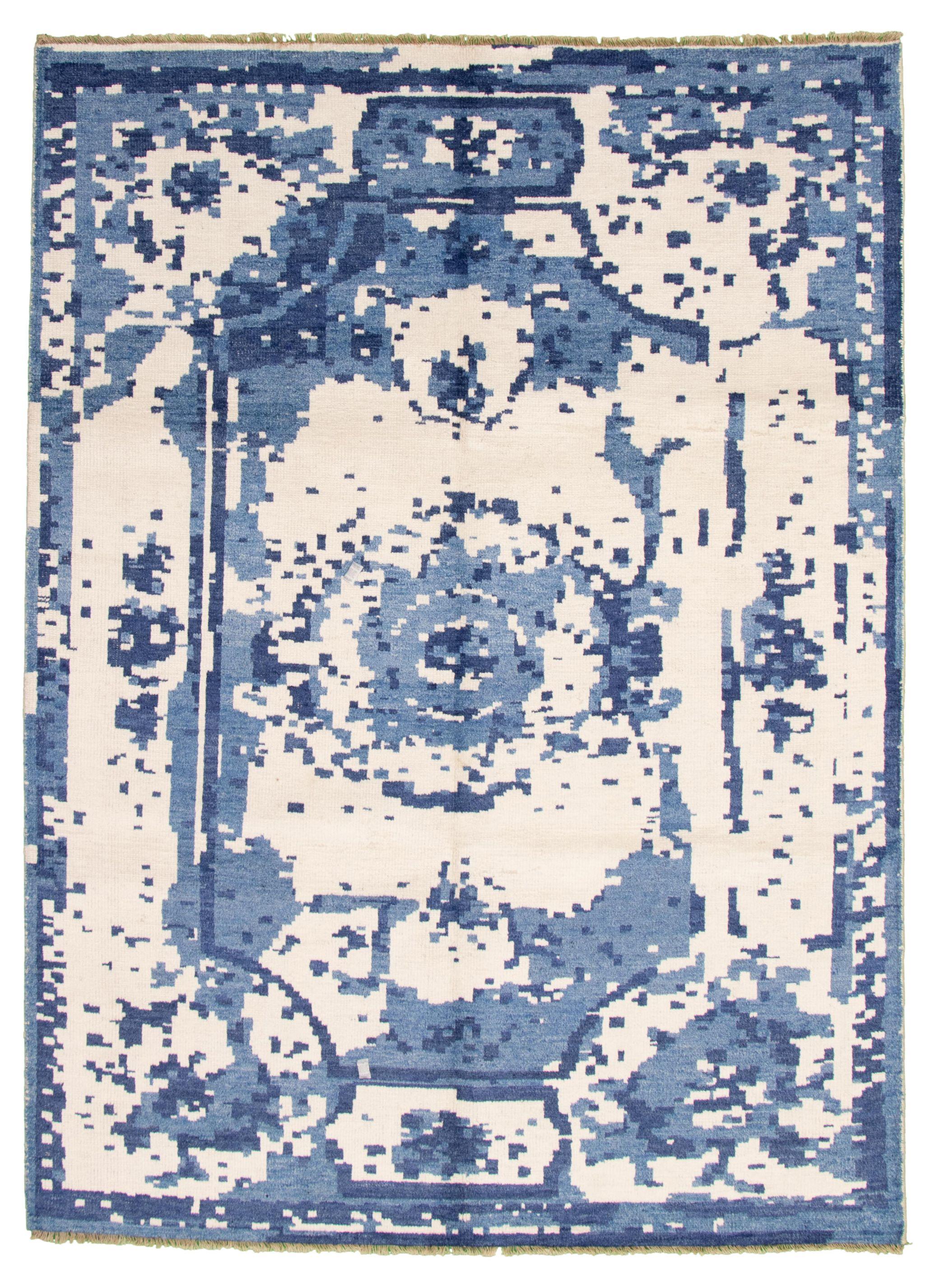 """Hand-knotted Jules Ushak Cream, Slate Blue  Rug 7'3"""" x 10'0"""" Size: 7'3"""" x 10'0"""""""