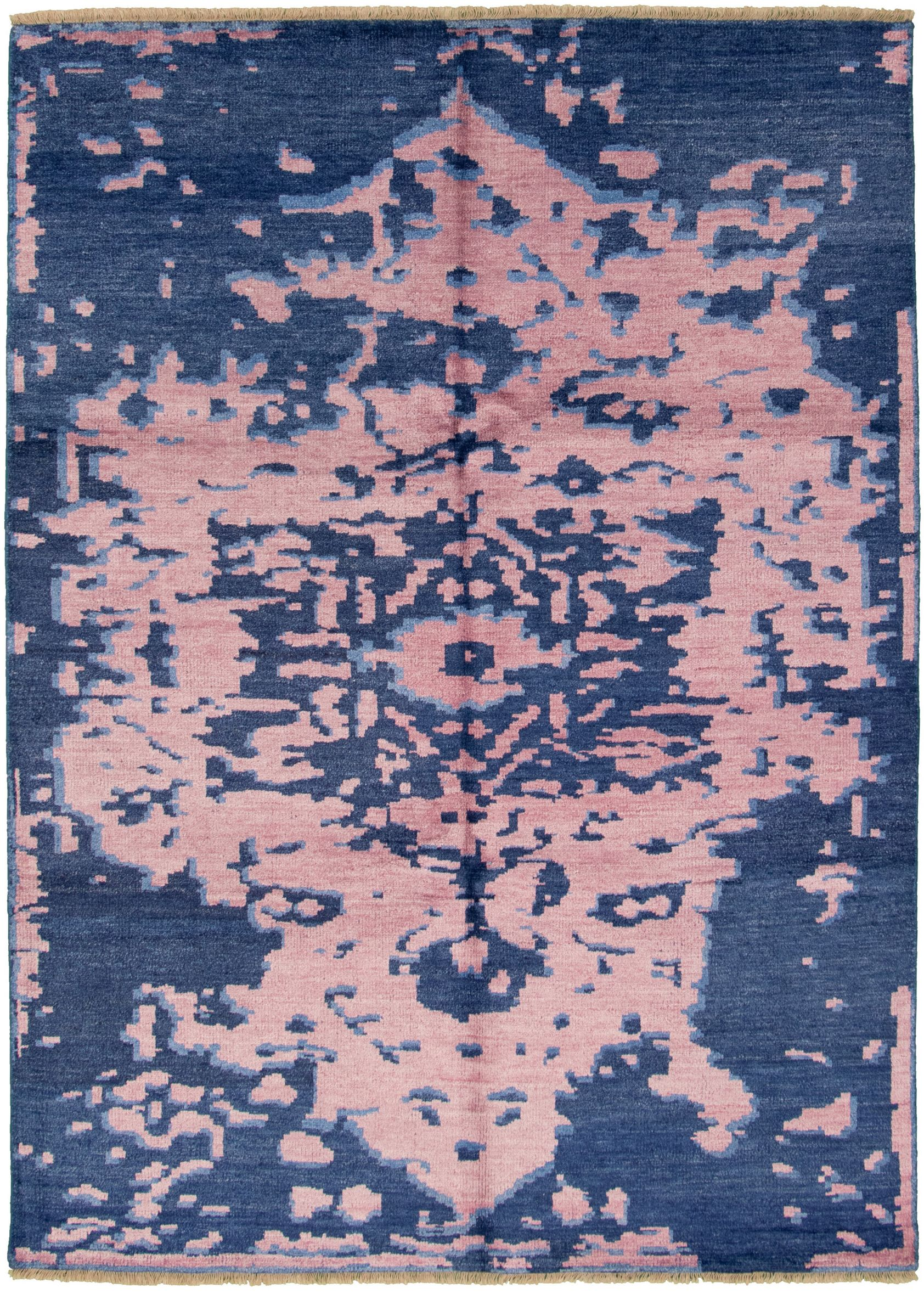"""Hand-knotted Jules Ushak Navy Blue, Pink  Rug 7'1"""" x 9'11"""" Size: 7'1"""" x 9'11"""""""