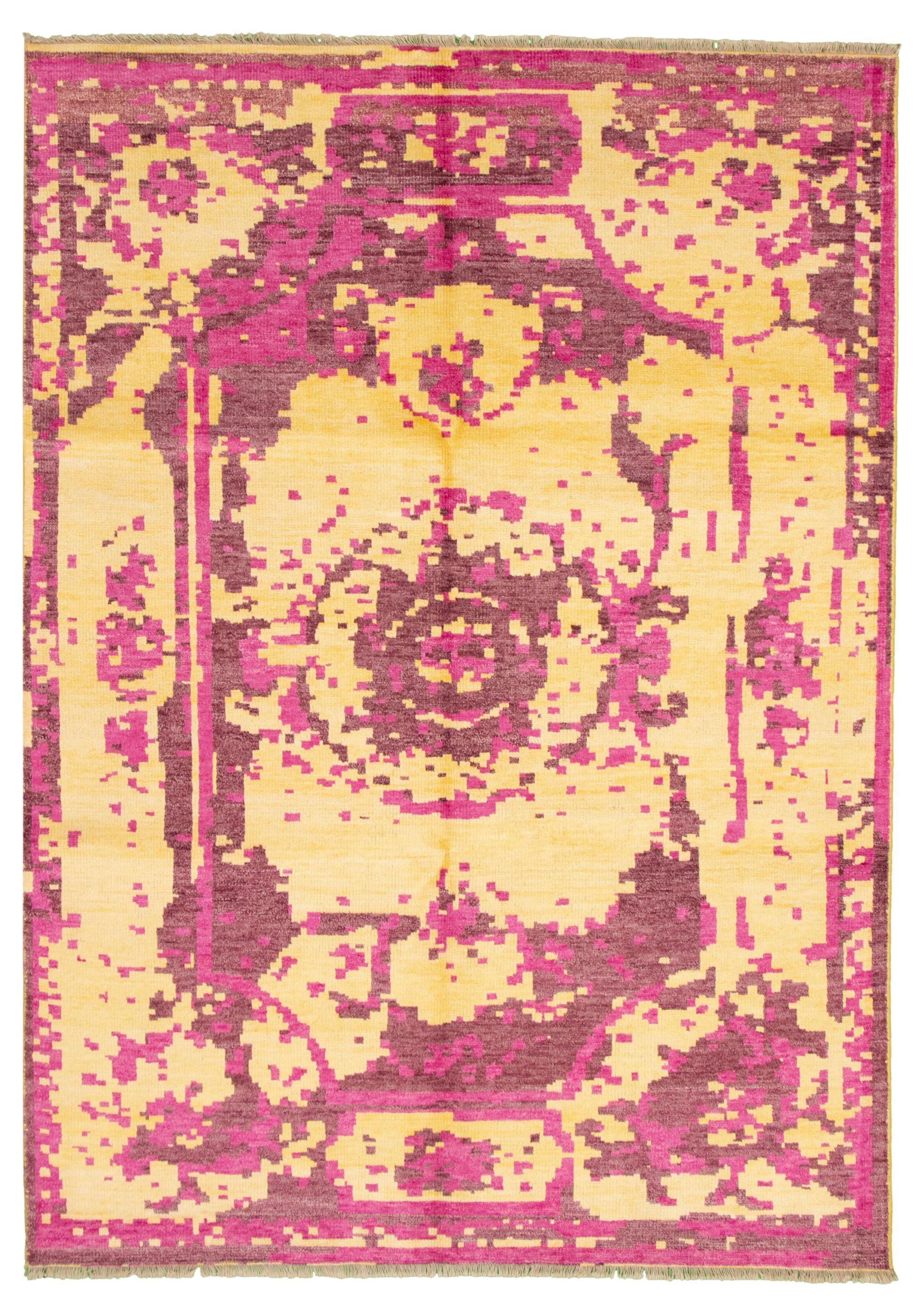 "Hand-knotted Jules Ushak Dark Pink, Light Gold  Rug 7'1"" x 9'11"" Size: 7'1"" x 9'11"""