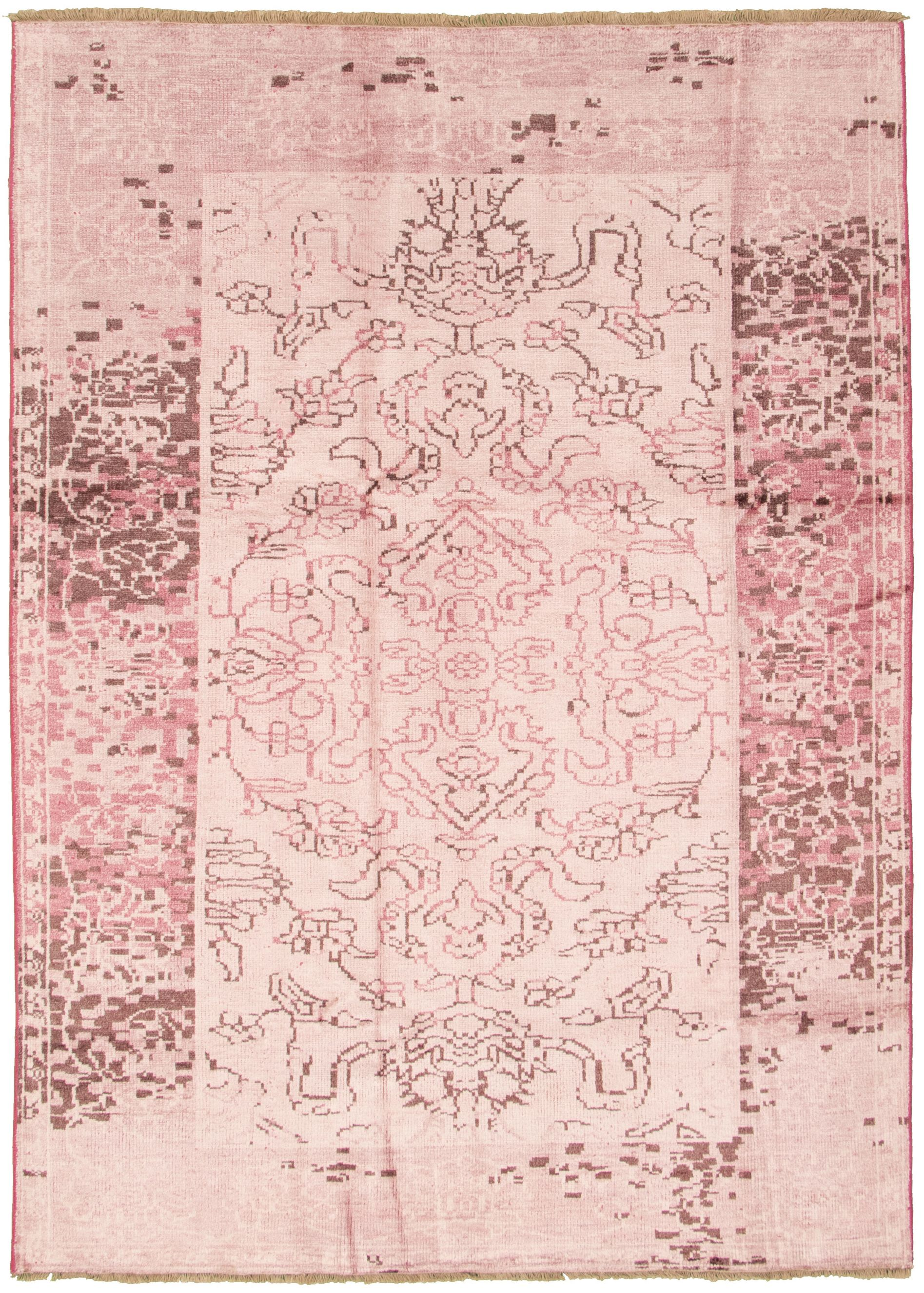 """Hand-knotted Jules Ushak Pink  Rug 6'10"""" x 9'9"""" Size: 6'10"""" x 9'9"""""""