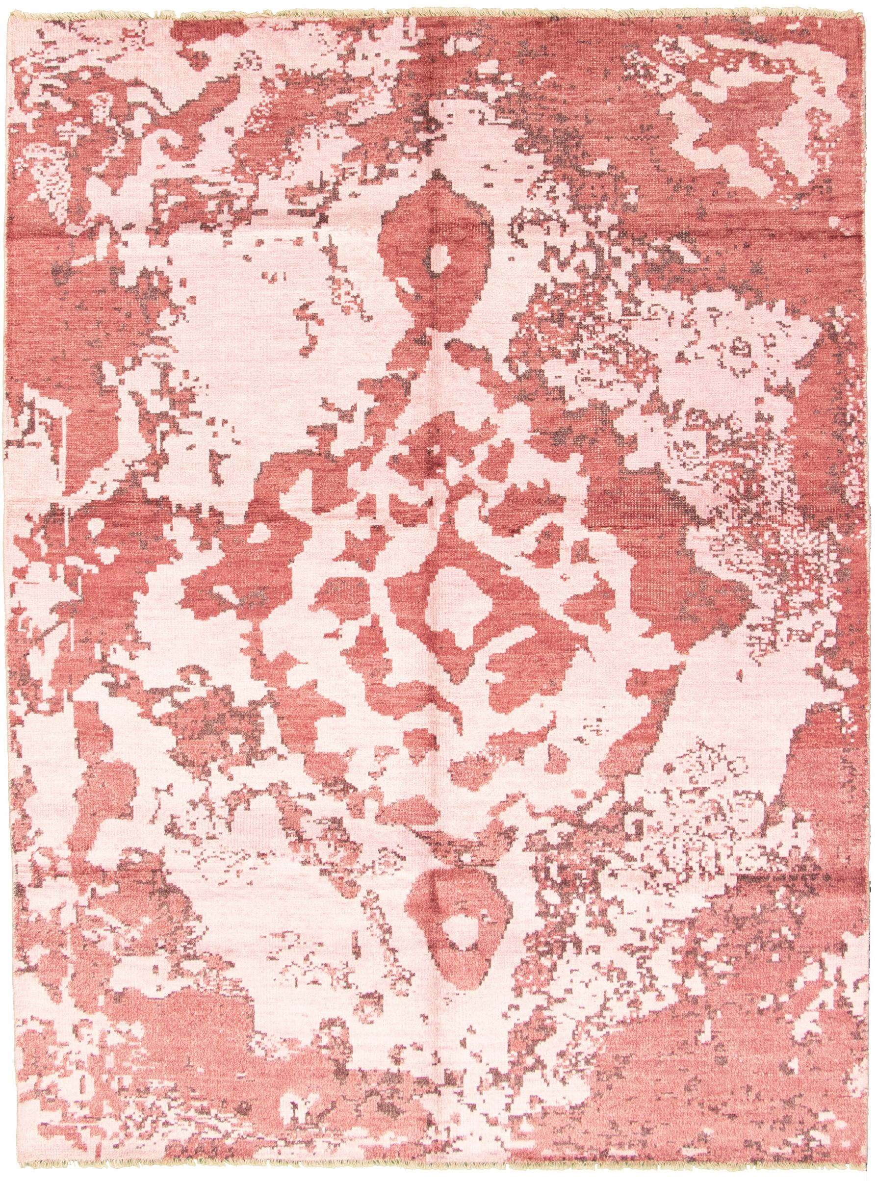 """Hand-knotted Jules Ushak Pink  Rug 7'2"""" x 9'9"""" Size: 7'2"""" x 9'9"""""""