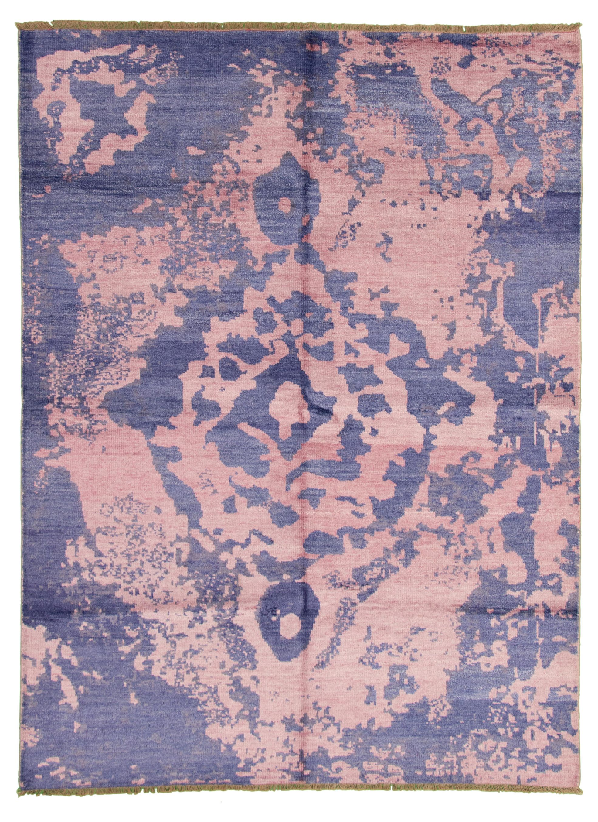 """Hand-knotted Jules Ushak Navy Blue, Pink  Rug 7'5"""" x 10'1"""" Size: 7'5"""" x 10'1"""""""