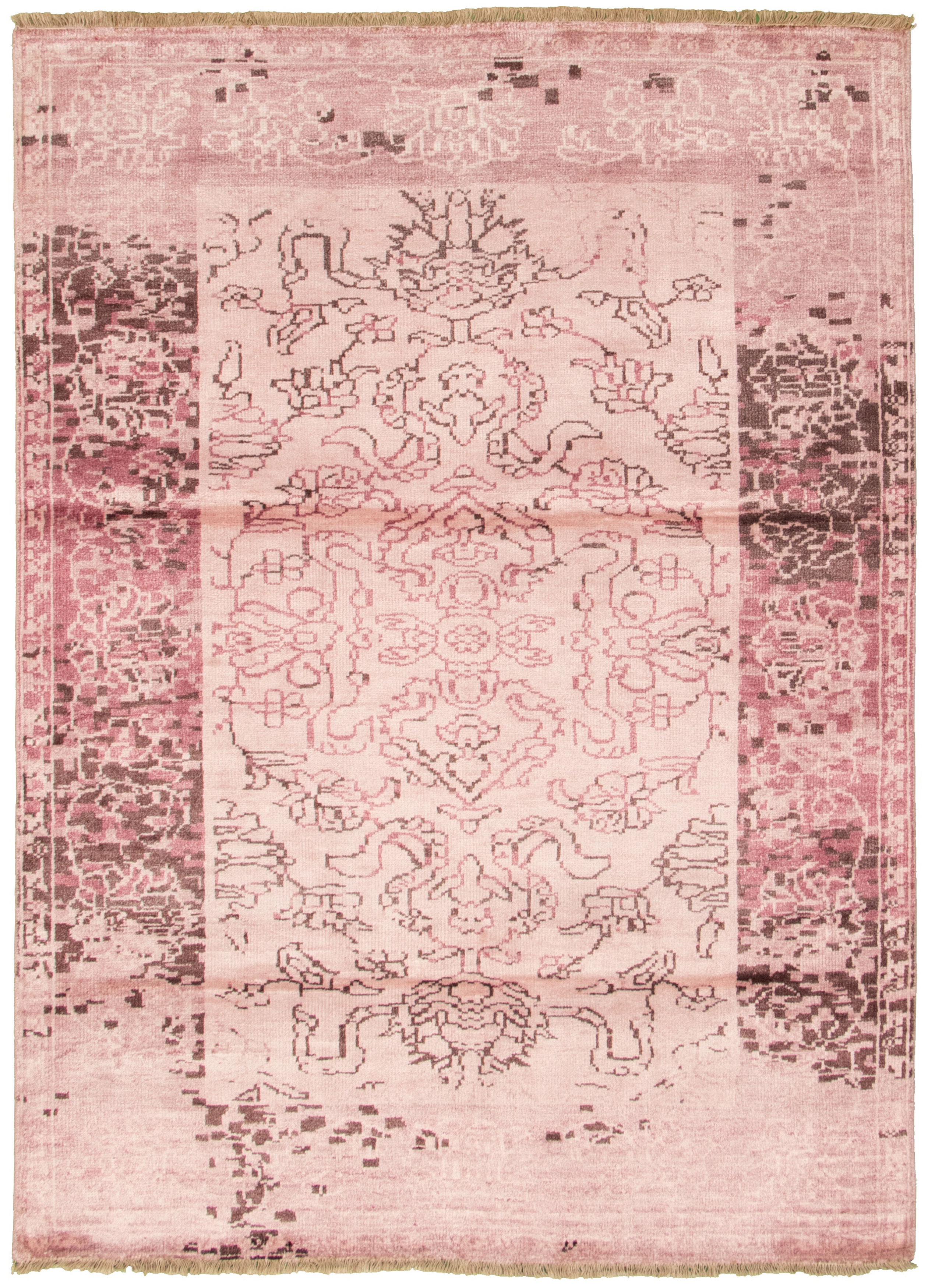 """Hand-knotted Jules Ushak Pink  Rug 5'7"""" x 7'8"""" Size: 5'7"""" x 7'8"""""""