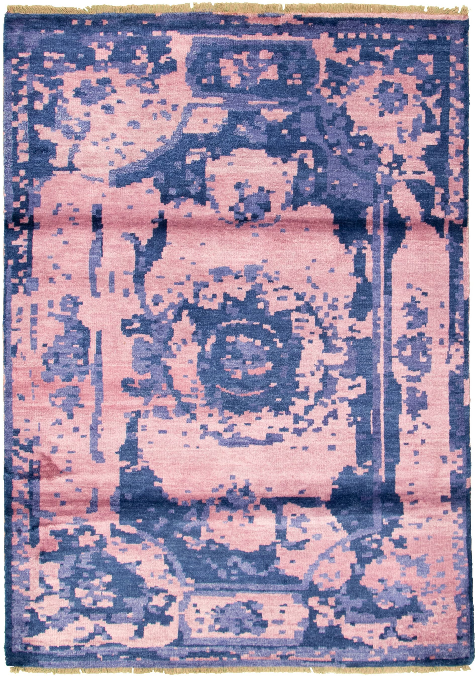 """Hand-knotted Jules Ushak Pink  Rug 5'8"""" x 7'9"""" Size: 5'8"""" x 7'9"""""""