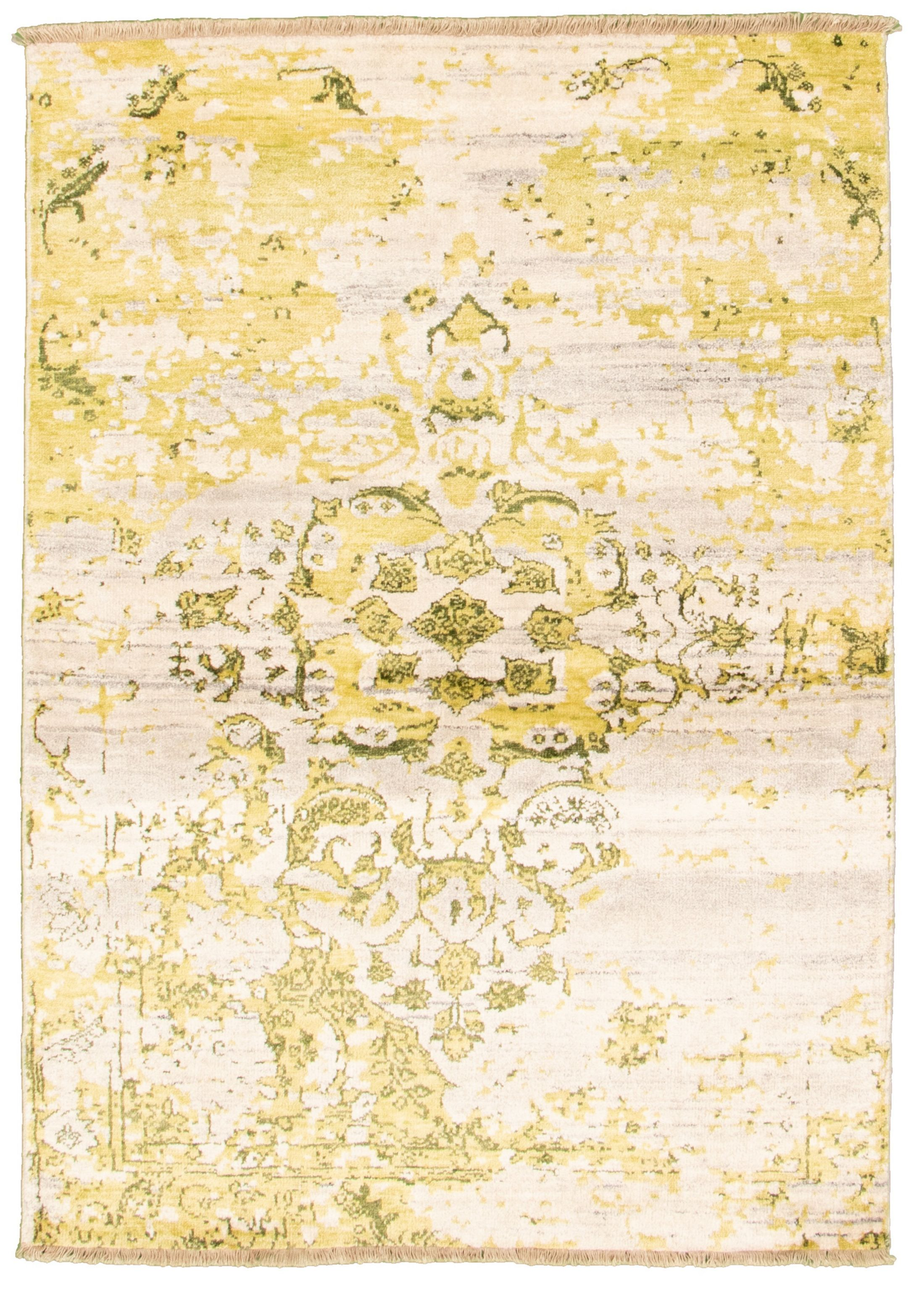 "Hand-knotted Jules Ushak Light Gold, Light Grey  Rug 4'6"" x 6'5"" Size: 4'6"" x 6'5"""