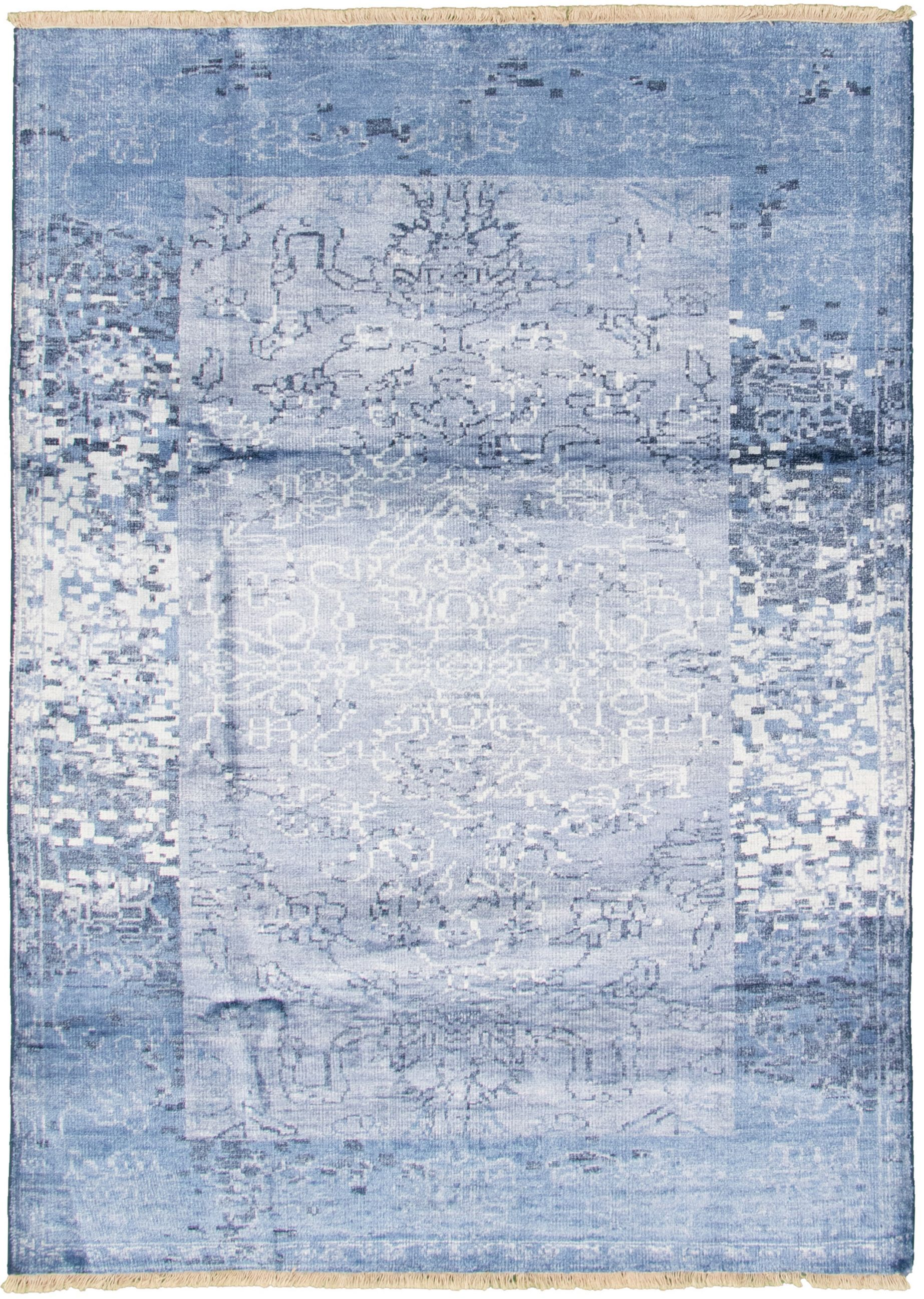 "Hand-knotted Color transition Slate Blue  Rug 5'4"" x 7'7"" Size: 5'4"" x 7'7"""