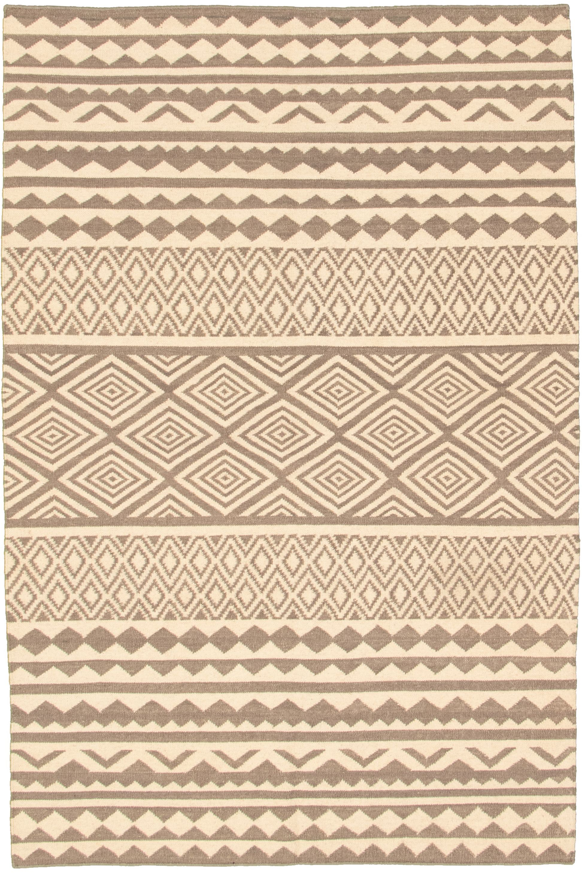 "Hand woven Pure & Organic Cream, Dark Grey Wool Kilim 5'2"" x 8'0"" Size: 5'2"" x 8'0"""