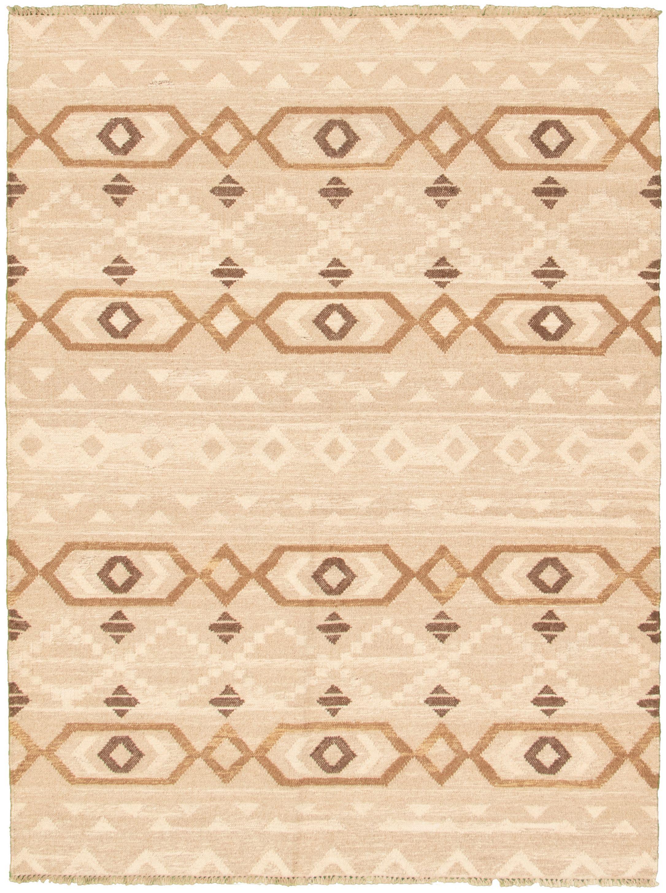 "Hand woven Pure & Organic Beige Wool Kilim 5'6"" x 7'5"" Size: 5'6"" x 7'5"""