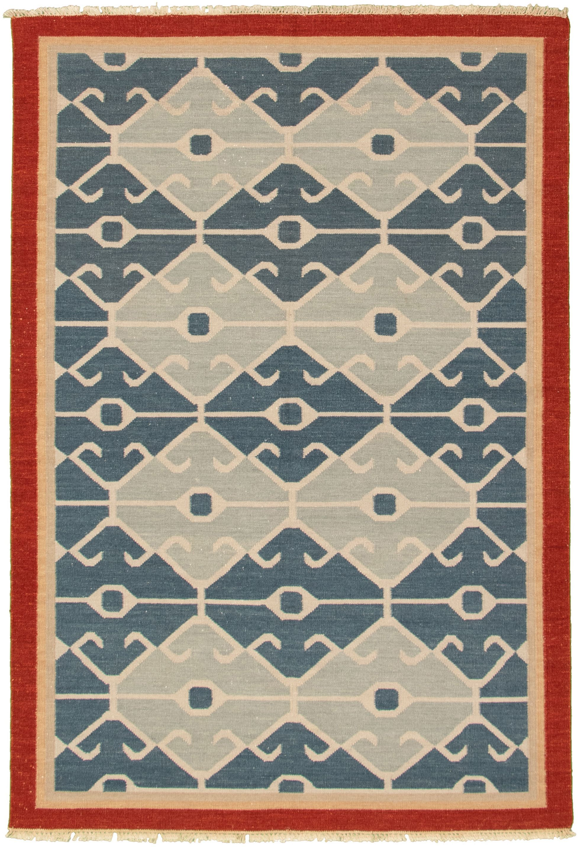 "Hand woven Bold and Colorful  Dark Blue Wool Kilim 5'3"" x 7'10"" Size: 5'3"" x 7'10"""