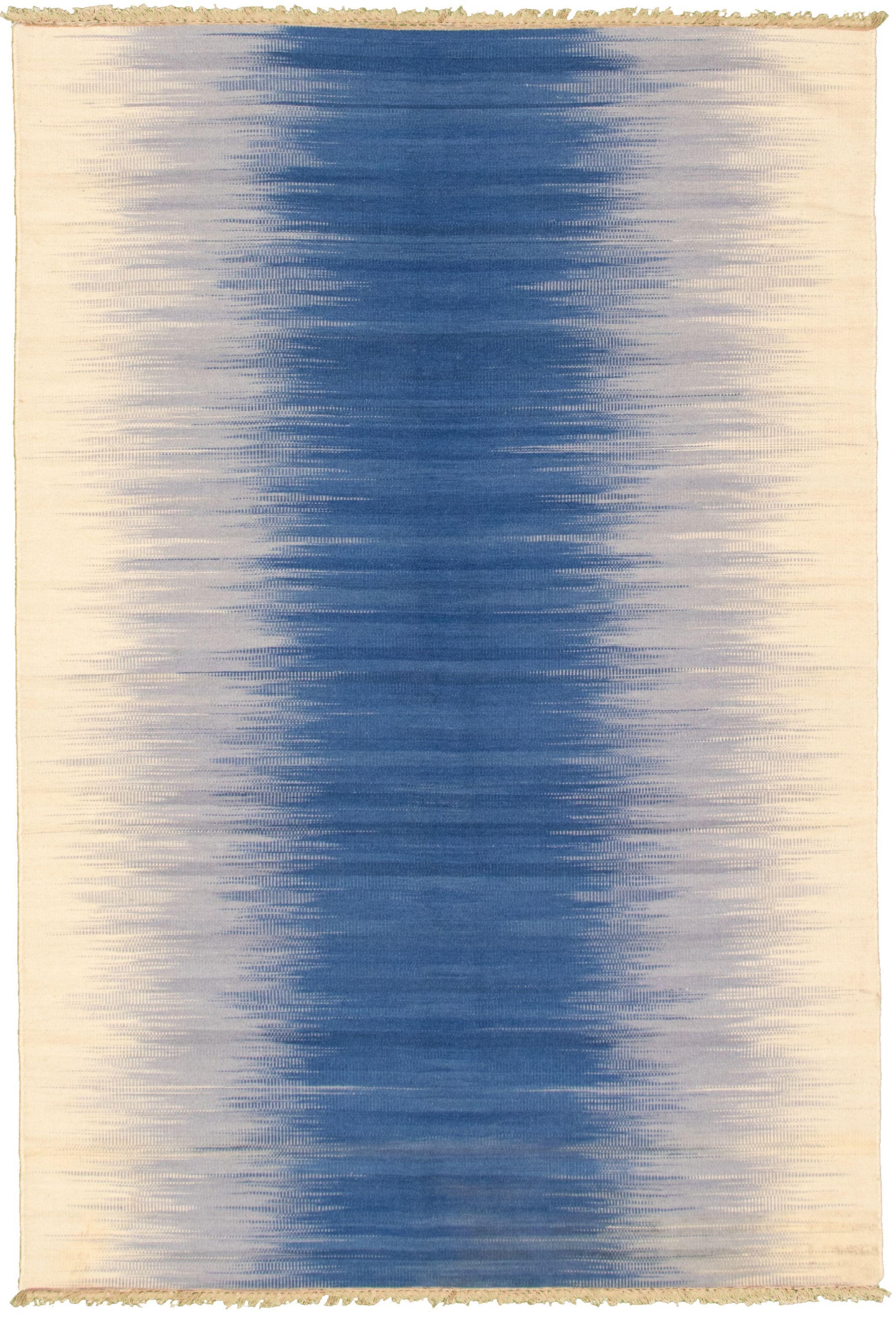 "Hand woven Ankara FW Cream, Dark Blue Wool Kilim 5'0"" x 7'11"" Size: 5'0"" x 7'11"""