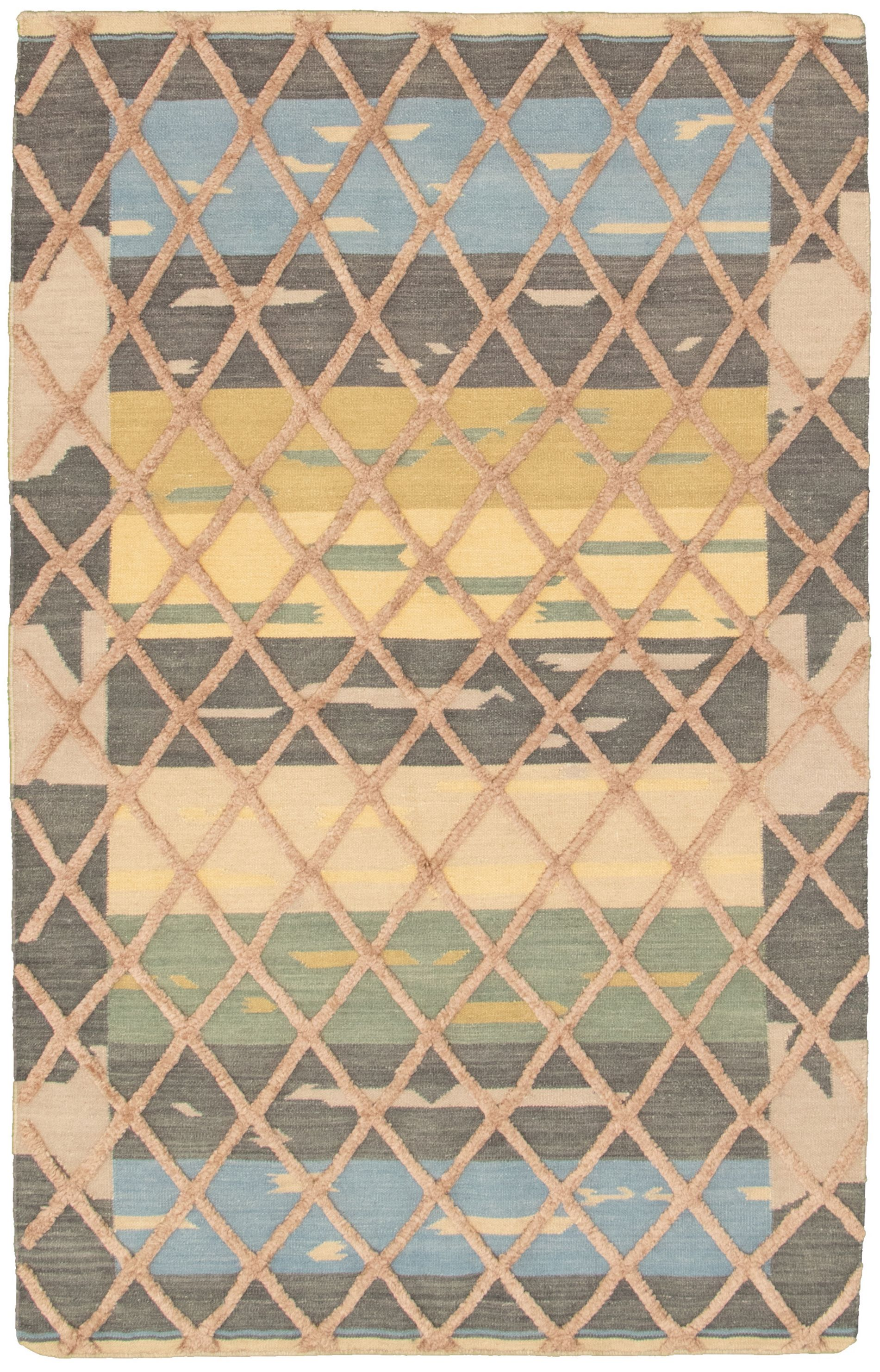 "Hand woven Cambridge Beige, Dark Grey Wool Kilim 5'0"" x 7'10"" Size: 5'0"" x 7'10"""
