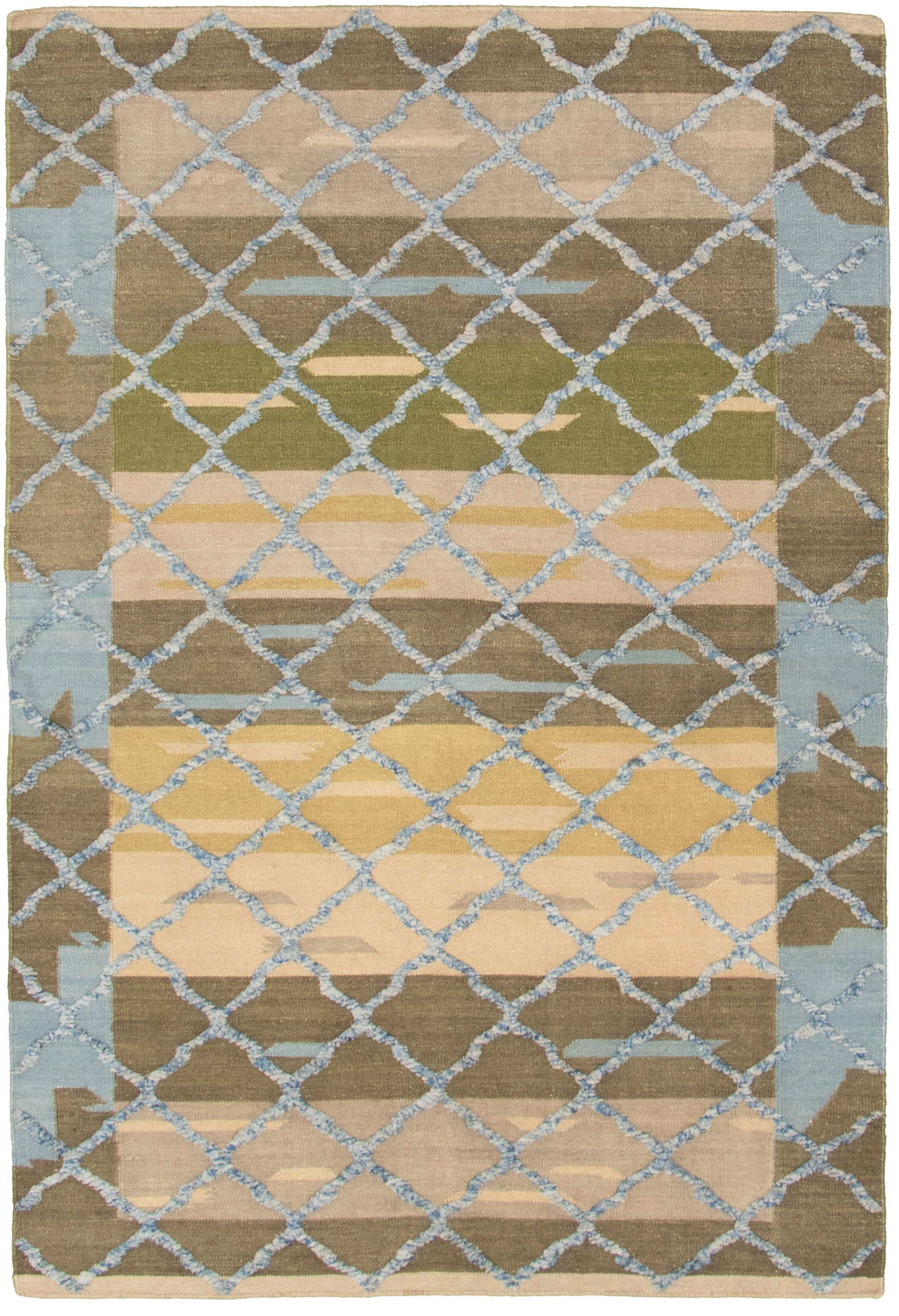 "Hand woven Cambridge Light Blue , Olive Wool Kilim 5'2"" x 7'11"" Size: 5'2"" x 7'11"""