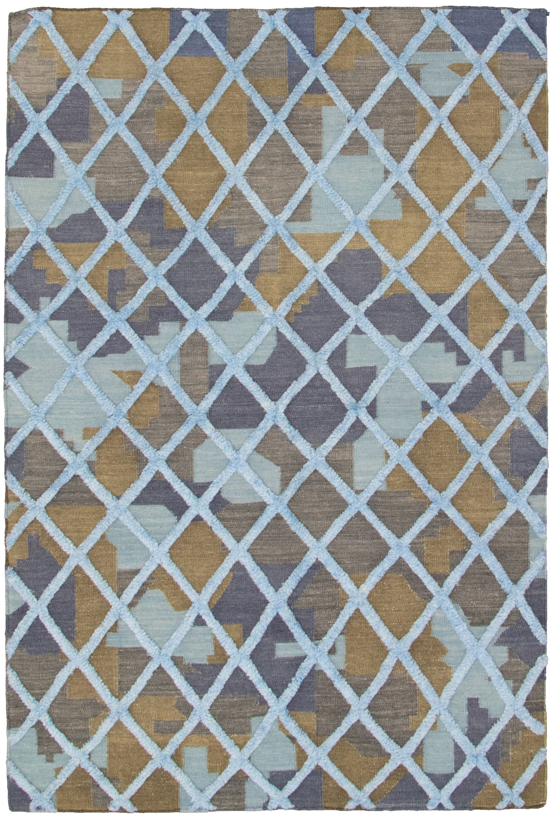 "Hand woven Cambridge Light Blue , Navy Blue Wool Kilim 5'3"" x 7'11"" Size: 5'3"" x 7'11"""