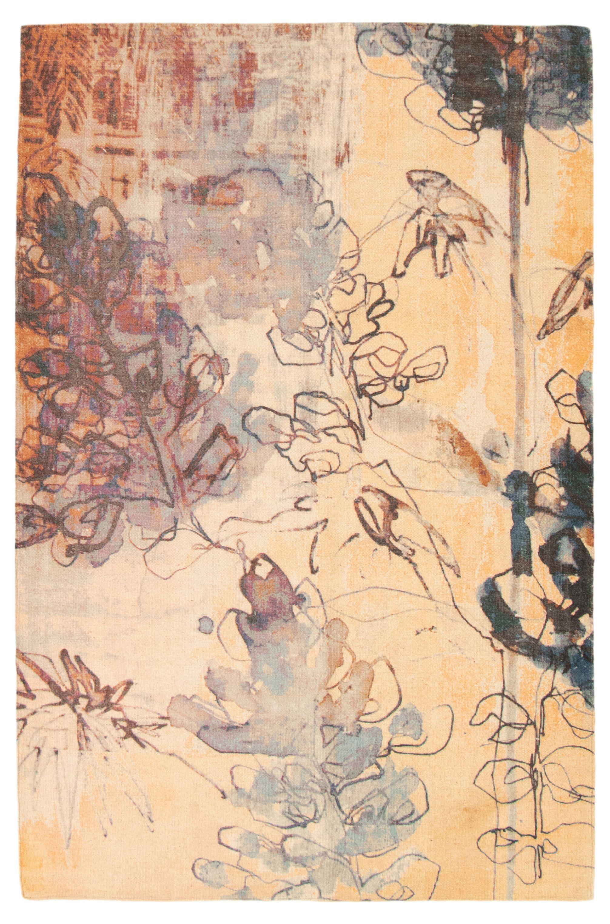 """Hand woven Color Transition Beige Cotton Kilim 5'2"""" x 7'11"""" Size: 5'2"""" x 7'11"""""""