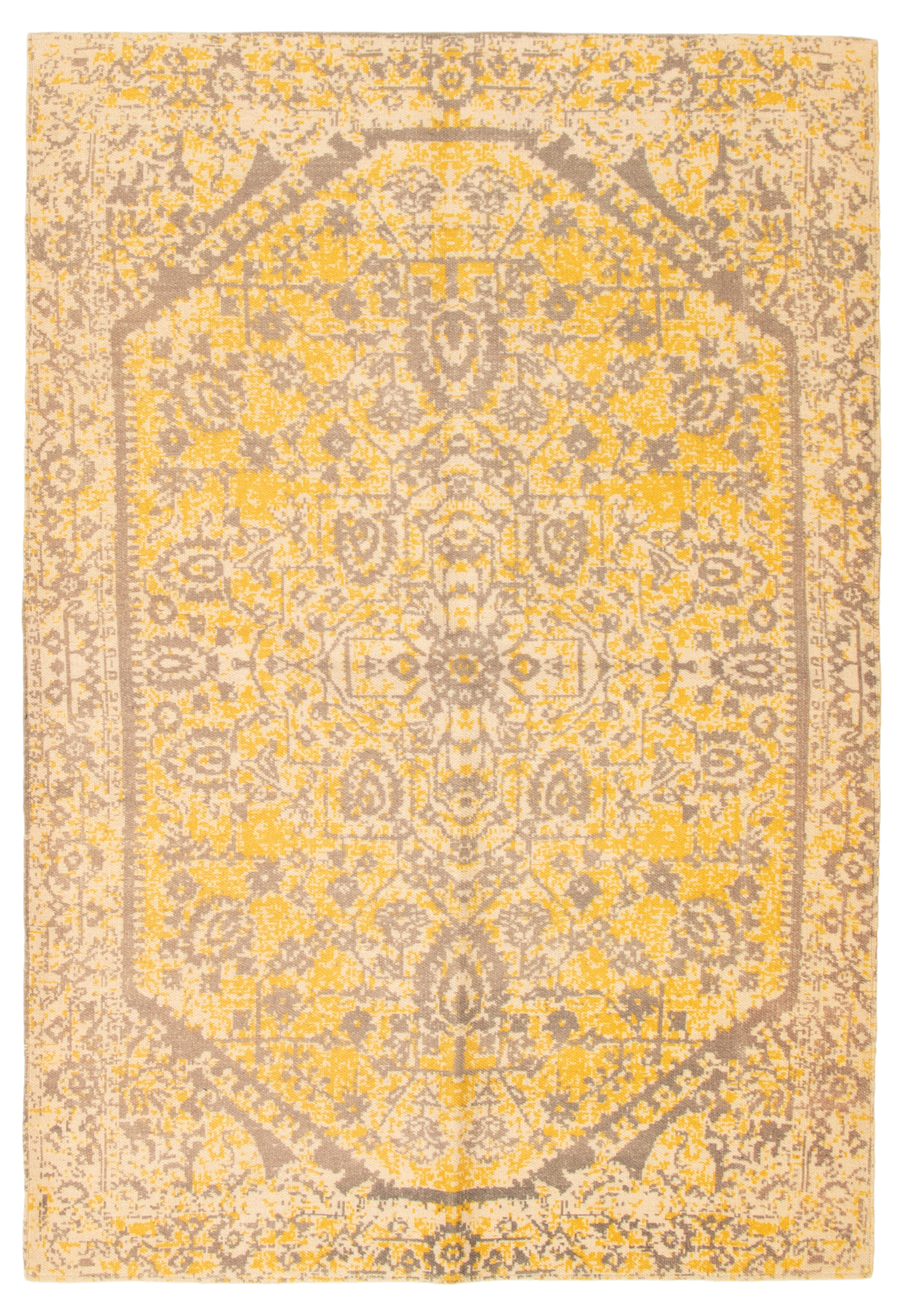 """Hand woven Color Transition Ivory, Light Gold Cotton Kilim 5'2"""" x 7'8"""" Size: 5'2"""" x 7'8"""""""