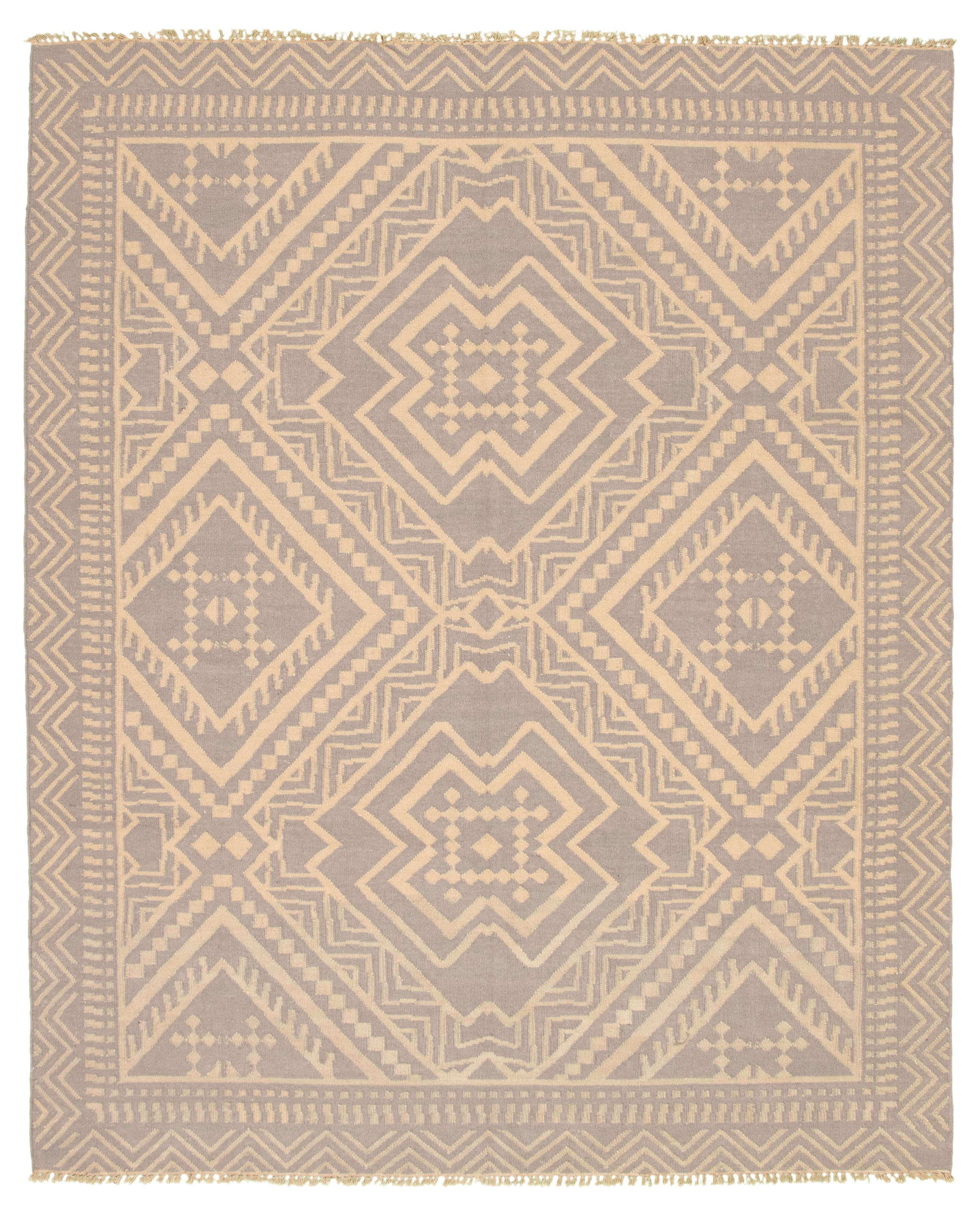 "Hand woven Pure & Organic Grey Wool Kilim 8'1"" x 9'11"" Size: 8'1"" x 9'11"""