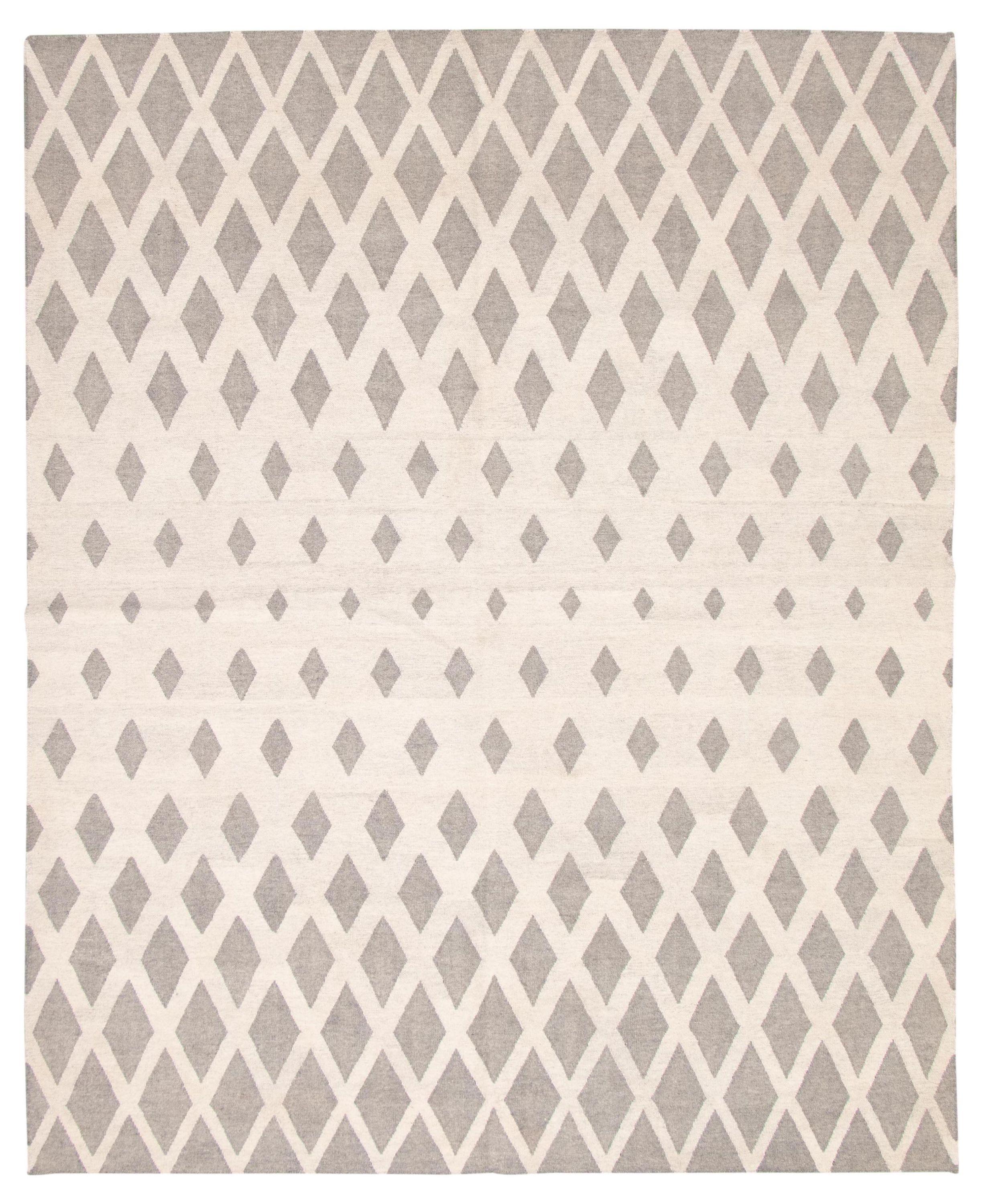 "Hand woven Ankara FW Cream, Grey Wool Kilim 8'1"" x 10'0"" Size: 8'1"" x 10'0"""