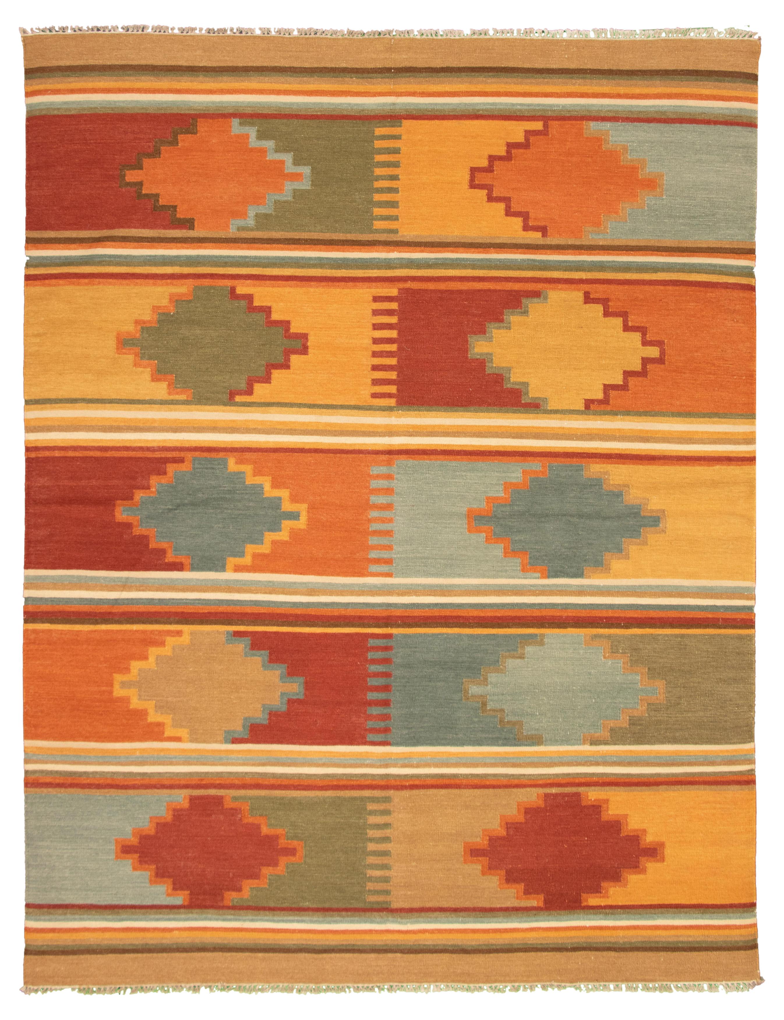 "Hand woven Ankara FW Orange, Tan Wool Kilim 9'3"" x 11'8"" Size: 9'3"" x 11'8"""