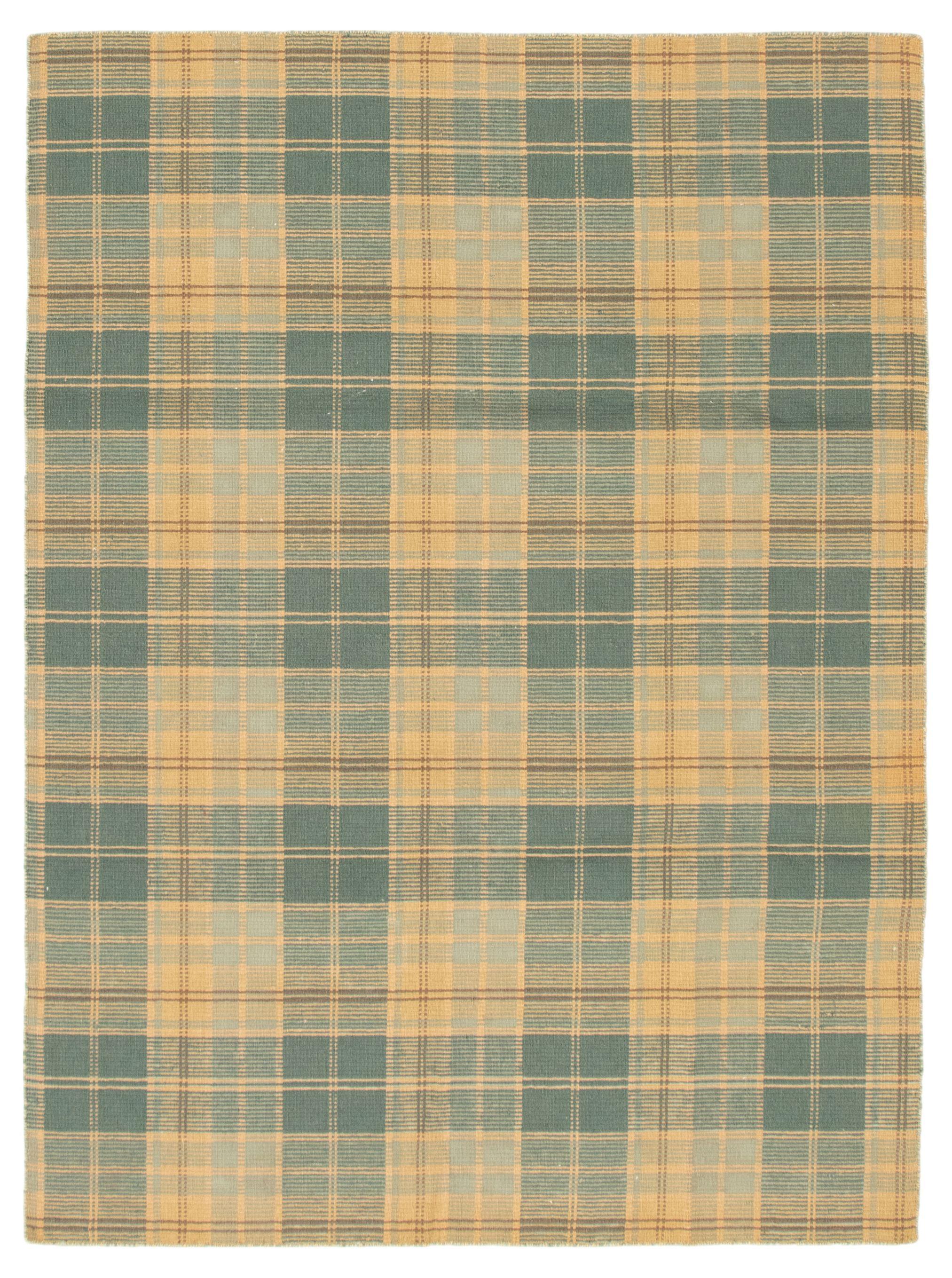 "Hand woven Manhattan Beige, Teal Wool Kilim 5'7"" x 7'11"" Size: 5'7"" x 7'11"""