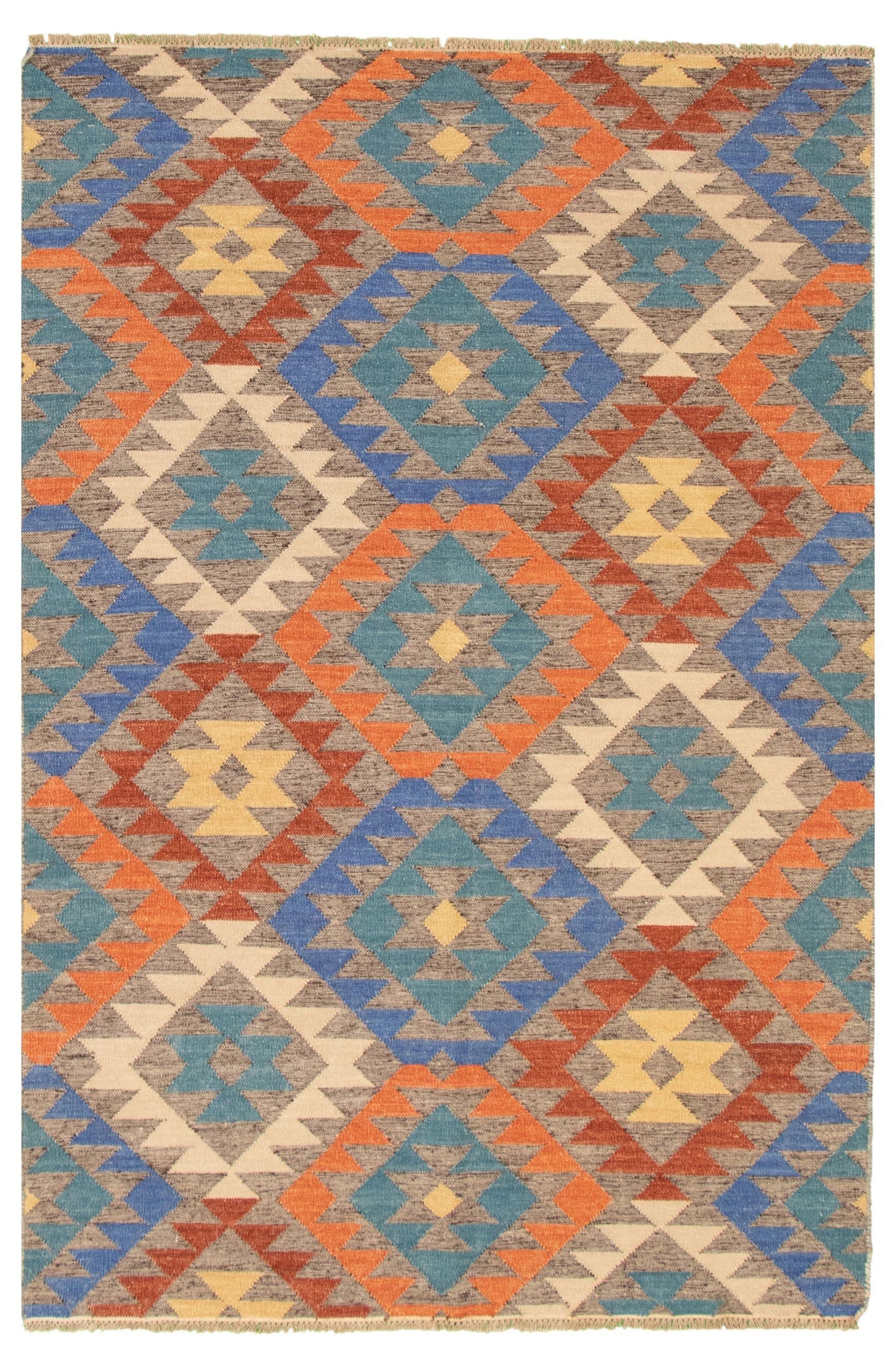 "Hand woven Ankara FW Blue, Copper Wool Kilim 5'2"" x 7'11"" Size: 5'2"" x 7'11"""