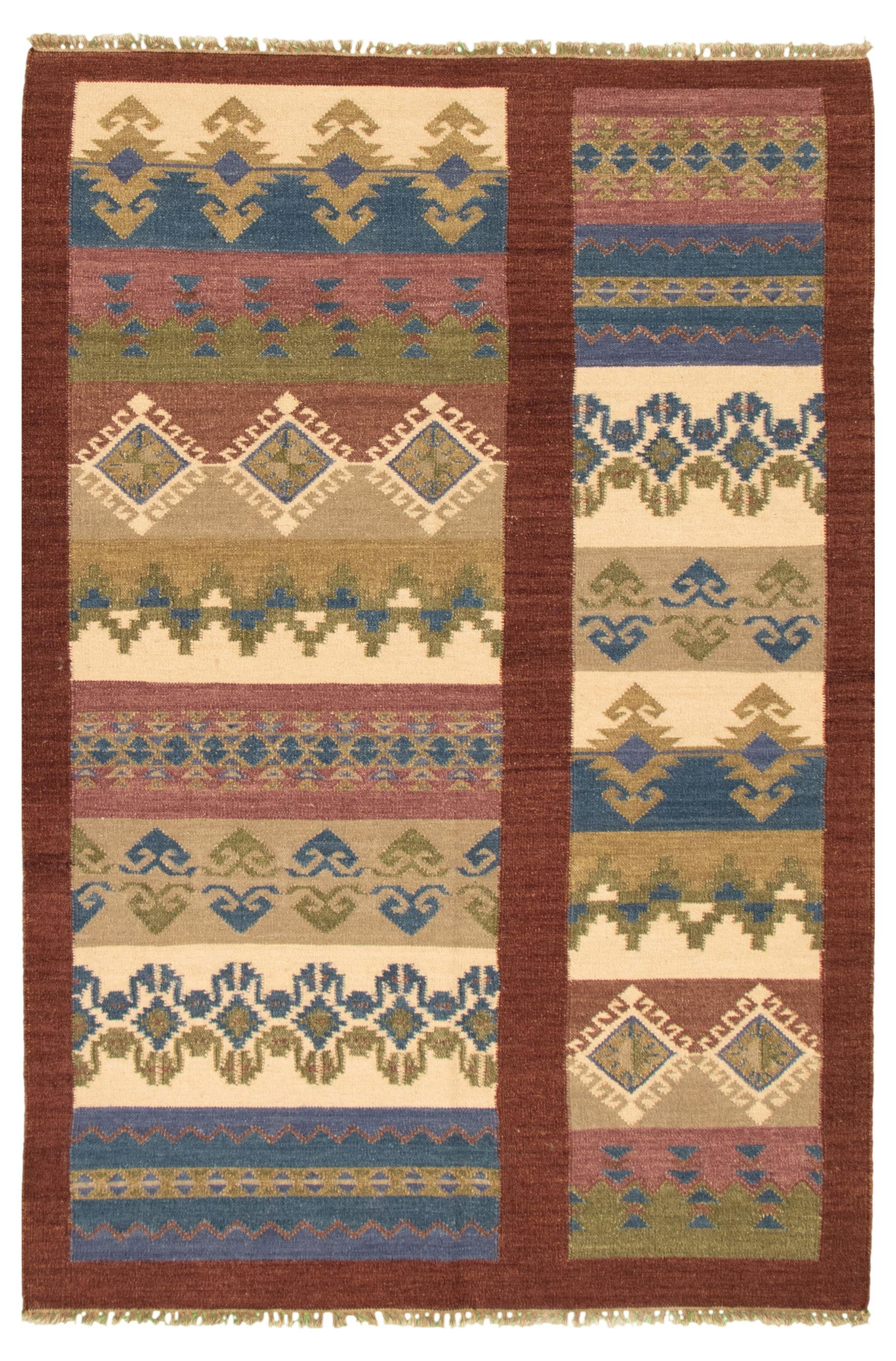 "Hand woven Ankara FW Dark Brown, Ivory Wool Kilim 5'4"" x 7'9"" Size: 5'4"" x 7'9"""