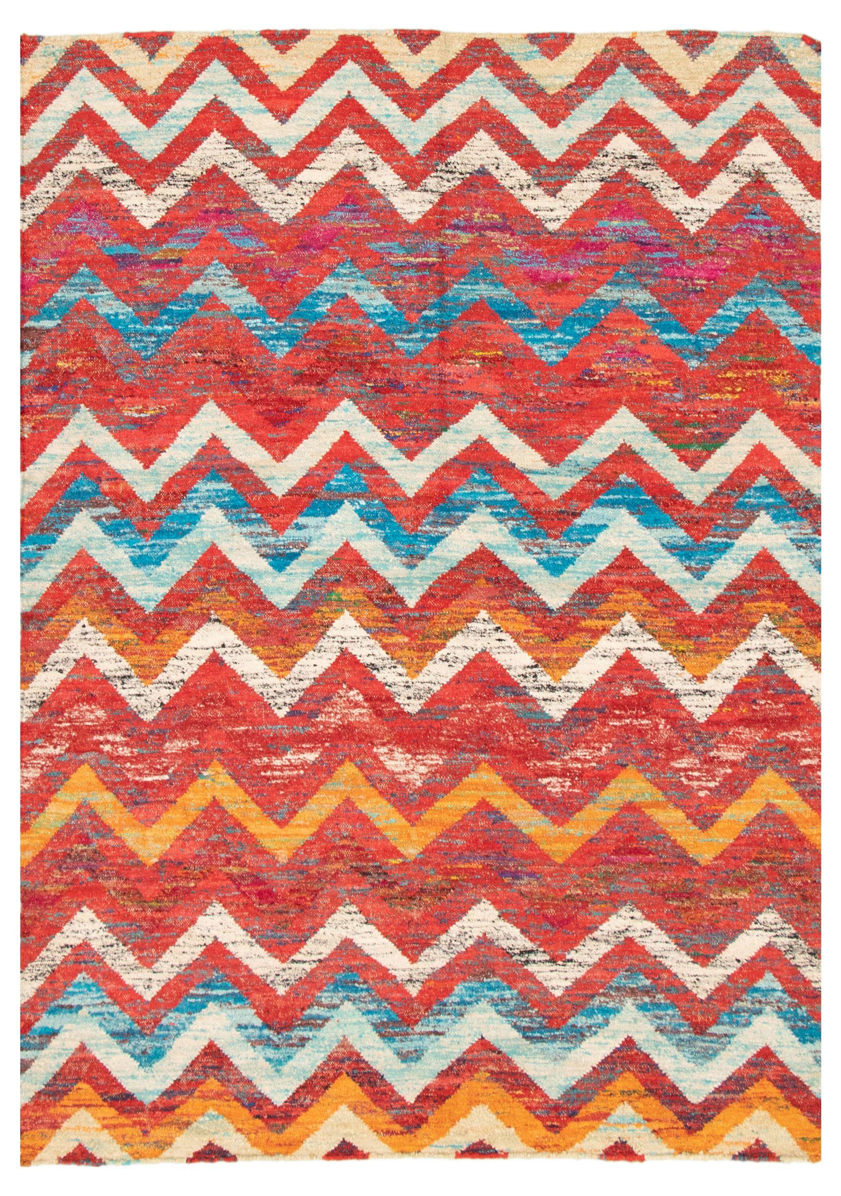 "Hand woven Sari Silk Red  Kilim 5'3"" x 7'3"" Size: 5'3"" x 7'3"""