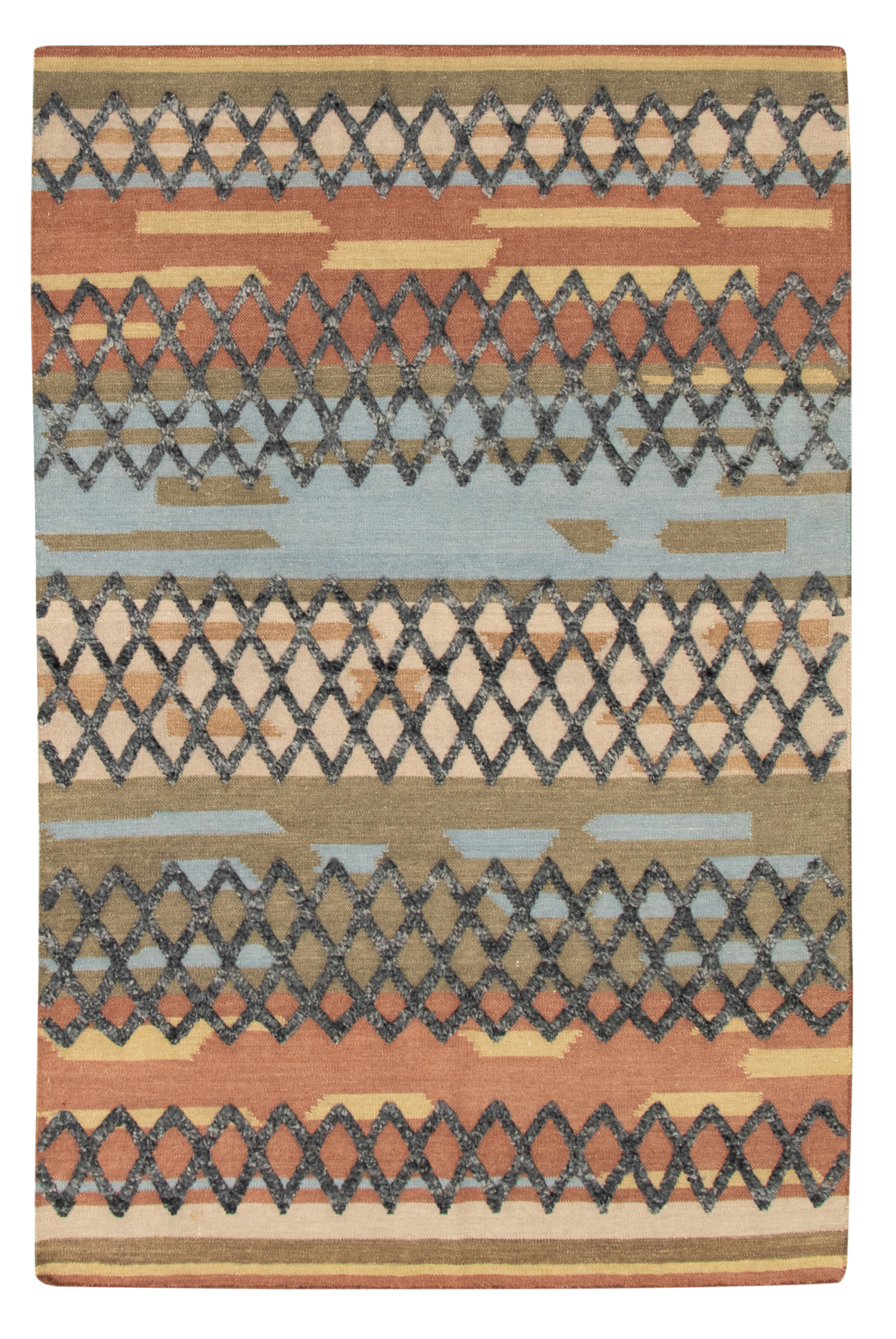 "Hand woven Cambridge Copper, Light Blue  Wool Kilim 5'1"" x 7'8"" Size: 5'1"" x 7'8"""