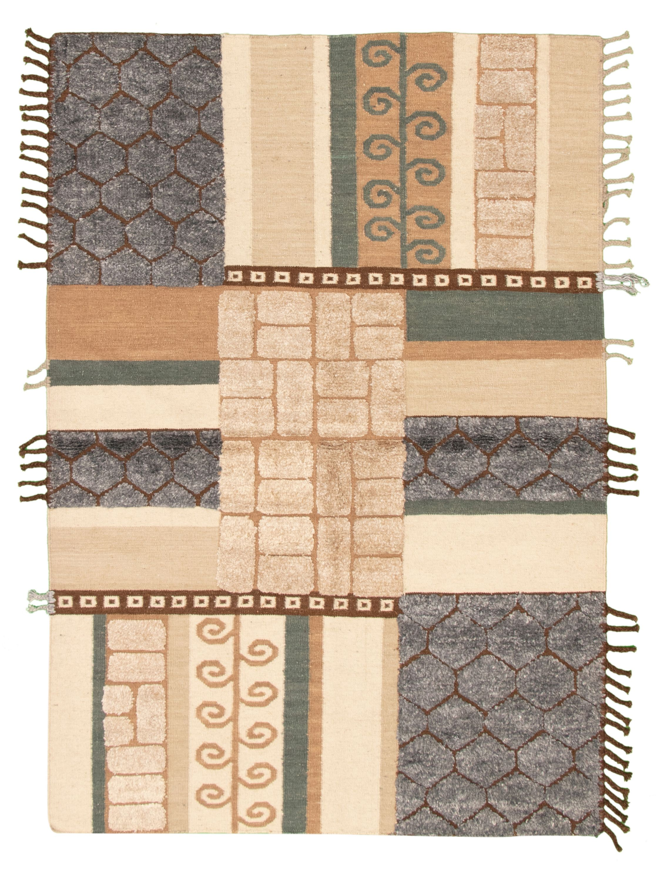 "Hand woven Cambridge Beige, Dark Grey  Kilim 5'5"" x 7'11"" Size: 5'5"" x 7'11"""