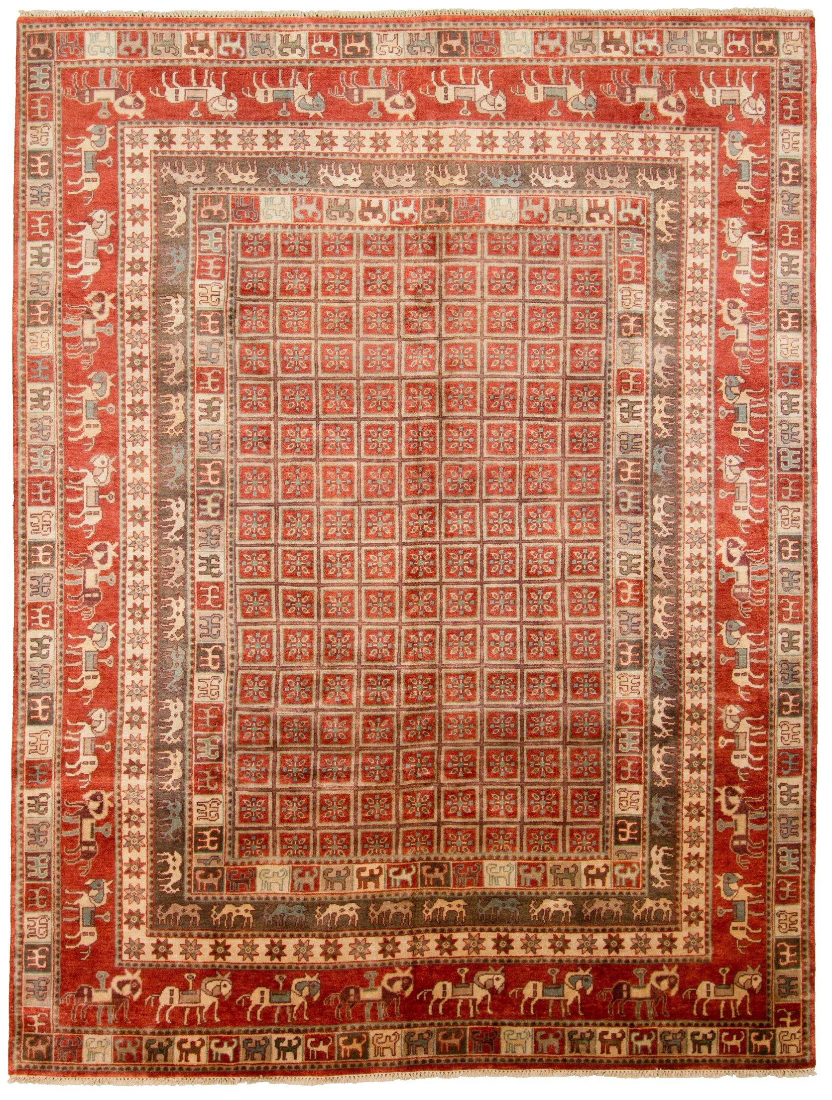 "Hand-knotted Pazirik Red  Rug 9'1"" x 11'11""  Size: 9'1"" x 11'11"""