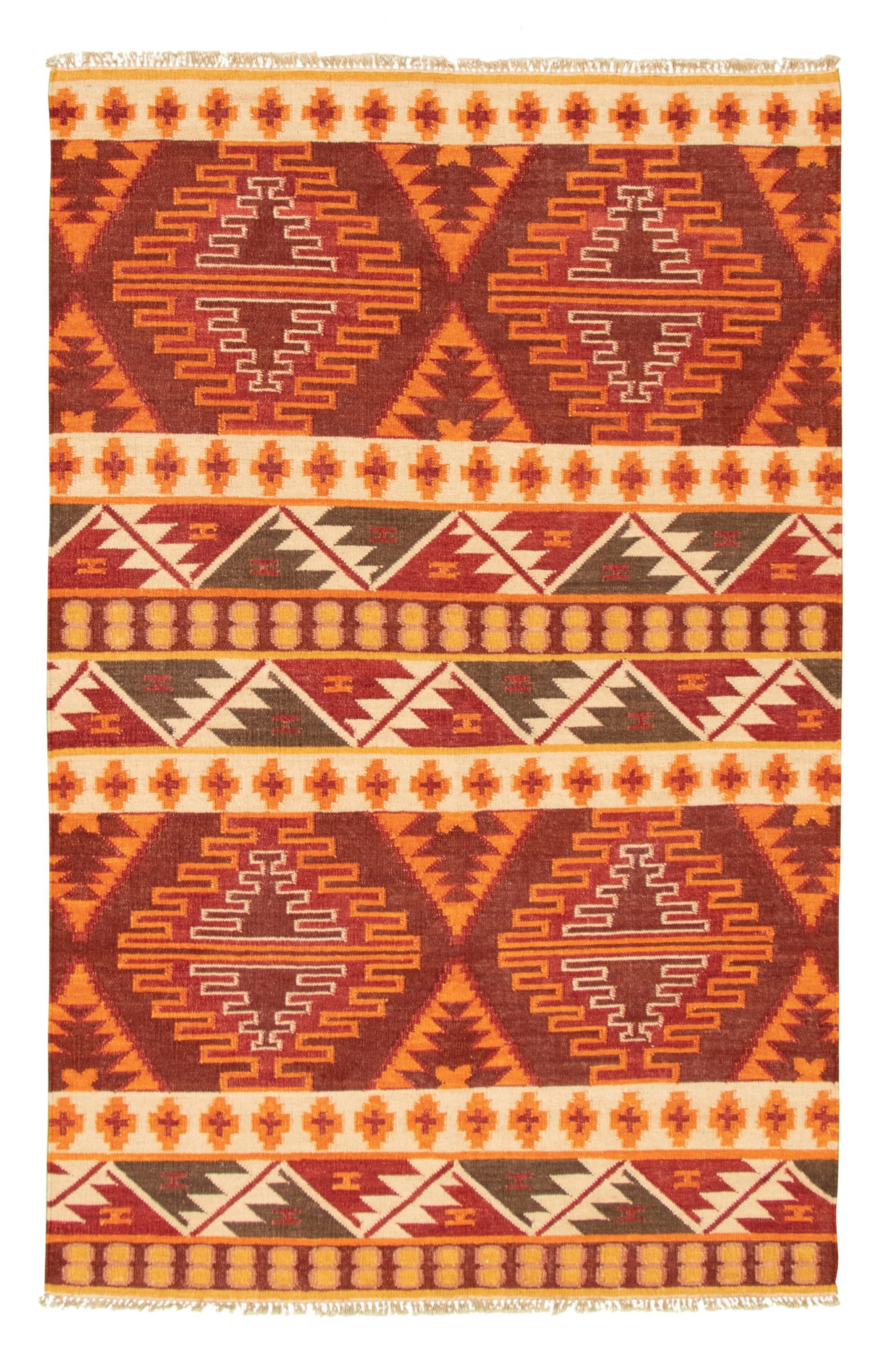 "Hand woven Ankara FW Dark Red Wool Kilim 5'3"" x 8'2"" Size: 5'3"" x 8'2"""