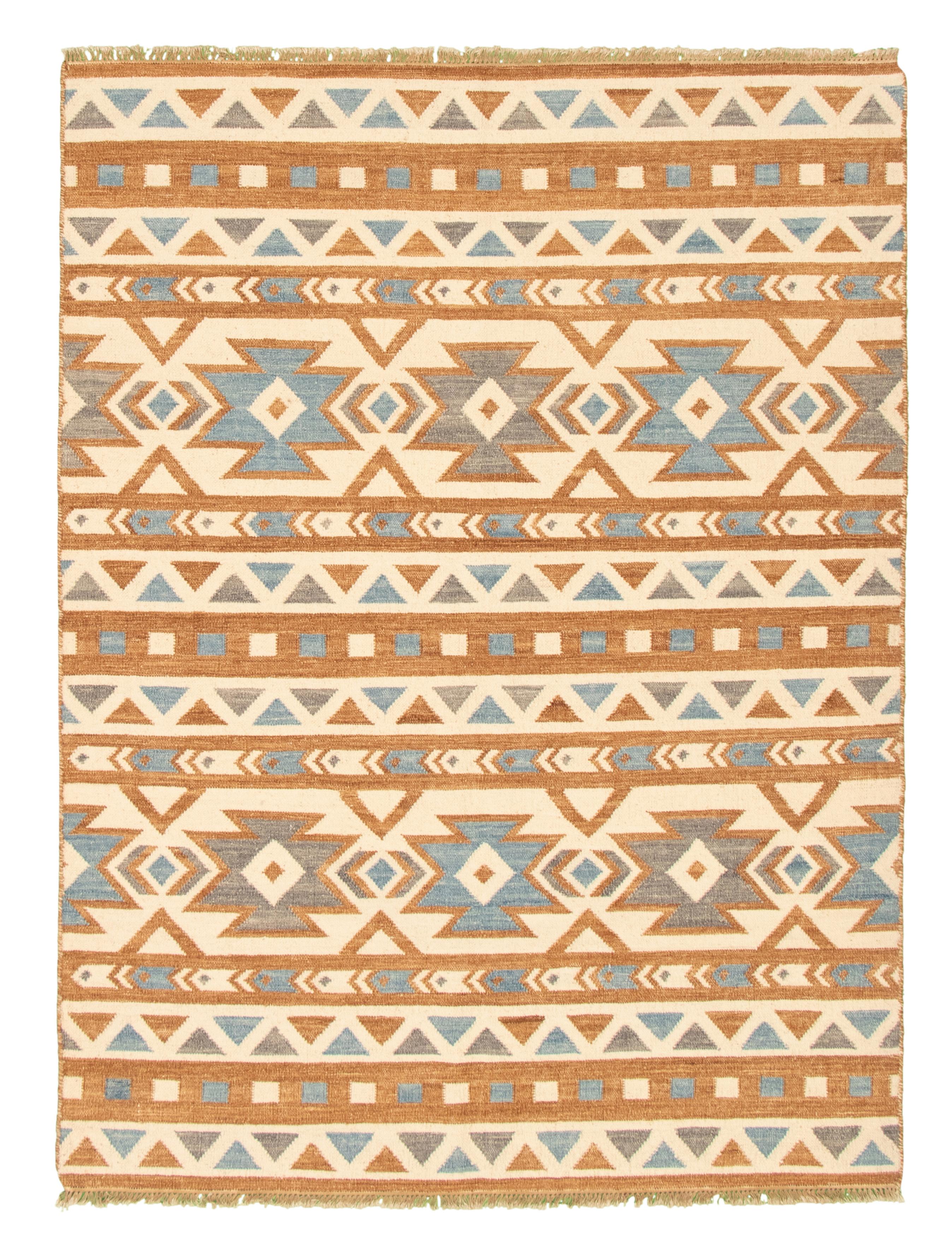 """Hand woven Ankara FW Brown, Cream Wool Kilim 5'7"""" x 7'7"""" Size: 5'7"""" x 7'7"""""""