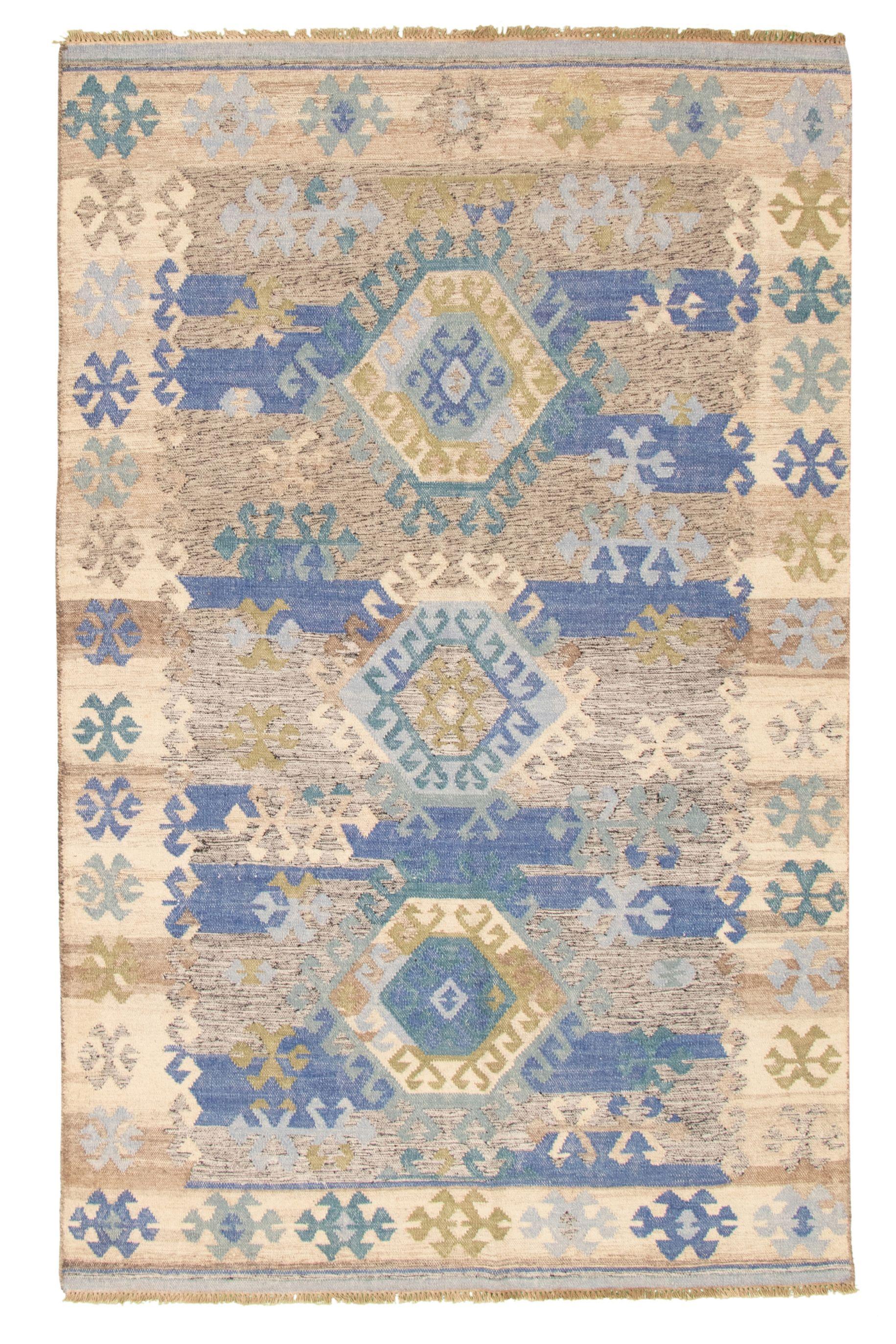 "Hand woven Ankara FW Dark Blue, Ivory Wool Kilim 5'2"" x 8'0"" Size: 5'2"" x 8'0"""