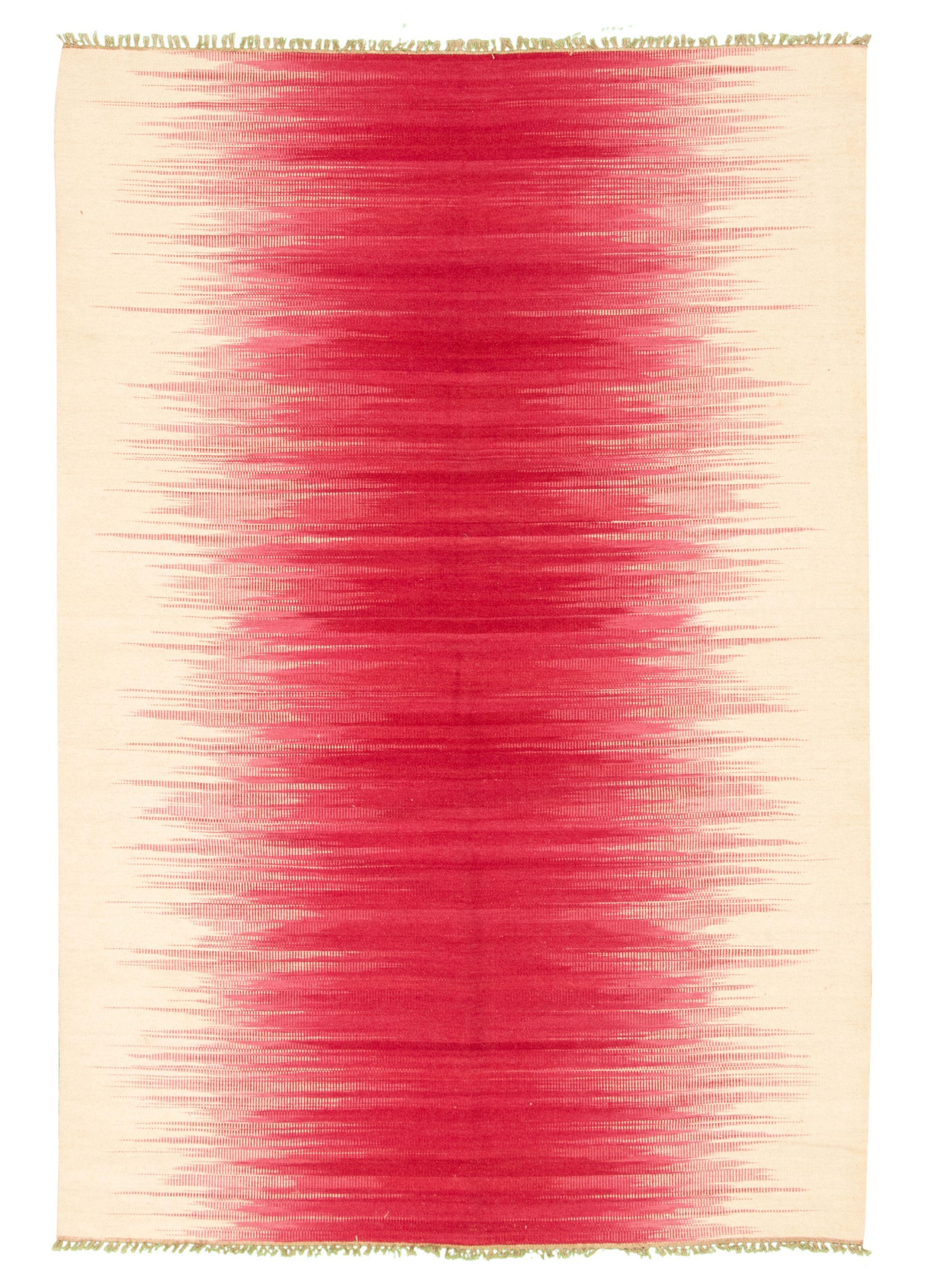 "Hand woven Ankara FW Dark Pink, Ivory Wool Kilim 5'6"" x 8'0"" Size: 5'6"" x 8'0"""