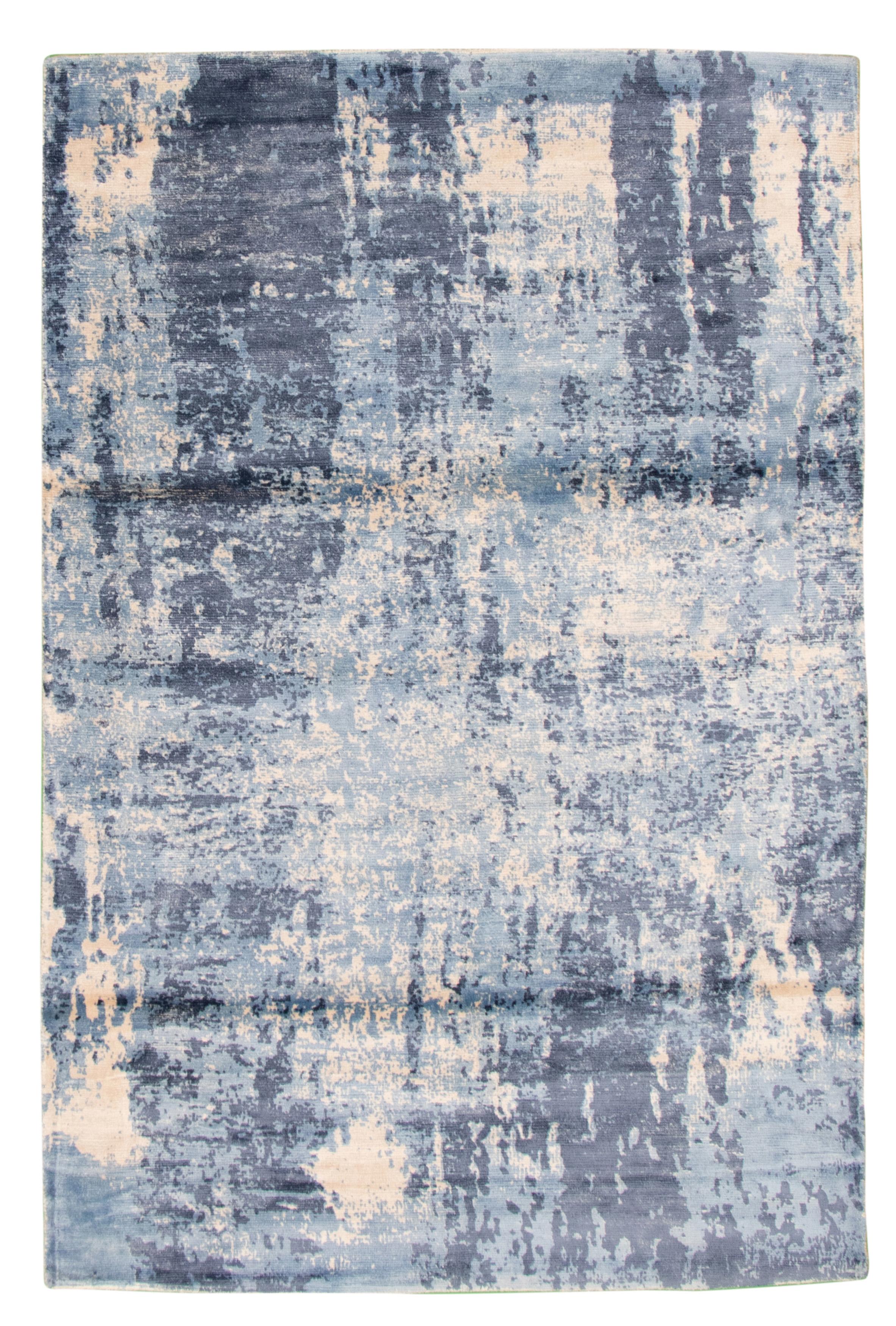 "Hand loomed Galleria Slate Blue Viscose Rug 4'11"" x 7'7"" Size: 4'11"" x 7'7"""