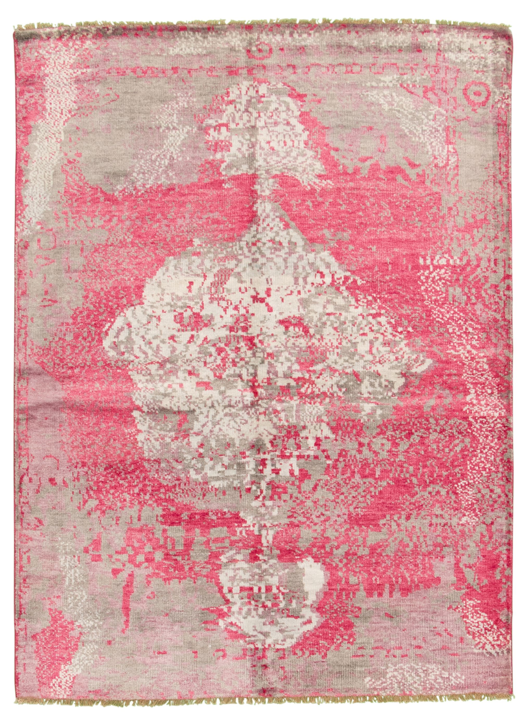 "Hand-knotted Jules Ushak Dark Pink  Rug 5'10"" x 7'7"" Size: 5'10"" x 7'7"""
